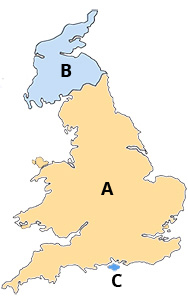UK Mail Delivery map for zone A and Zone B