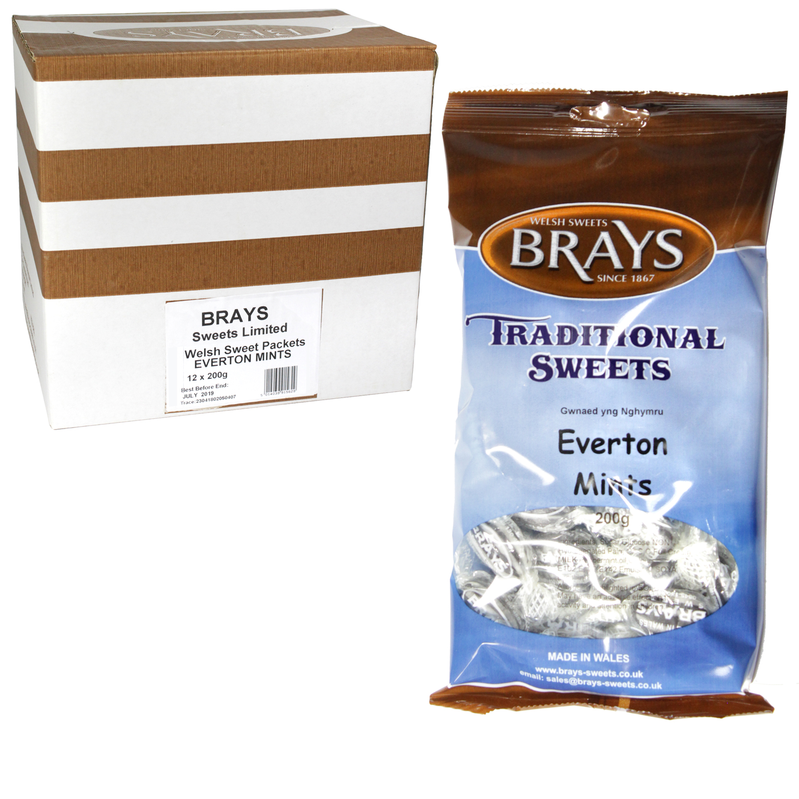 BRAYS 200GM BAG EVERTON MINTS X12