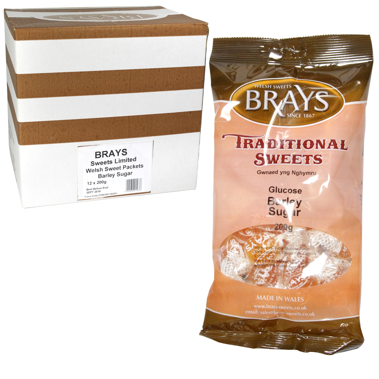 BRAYS 200GM BAG BARLEY SUGAR X12