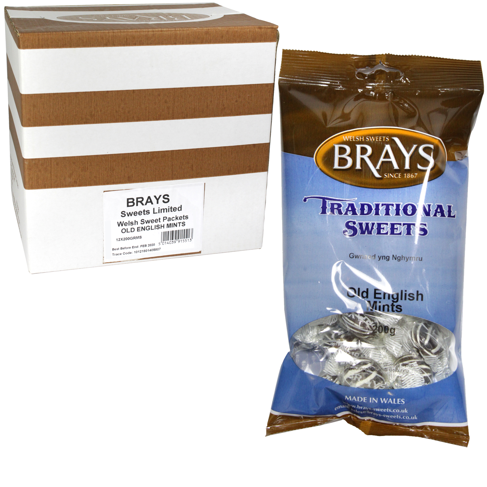 BRAYS 200GM BAG OLD ENGLISH MINTS X12