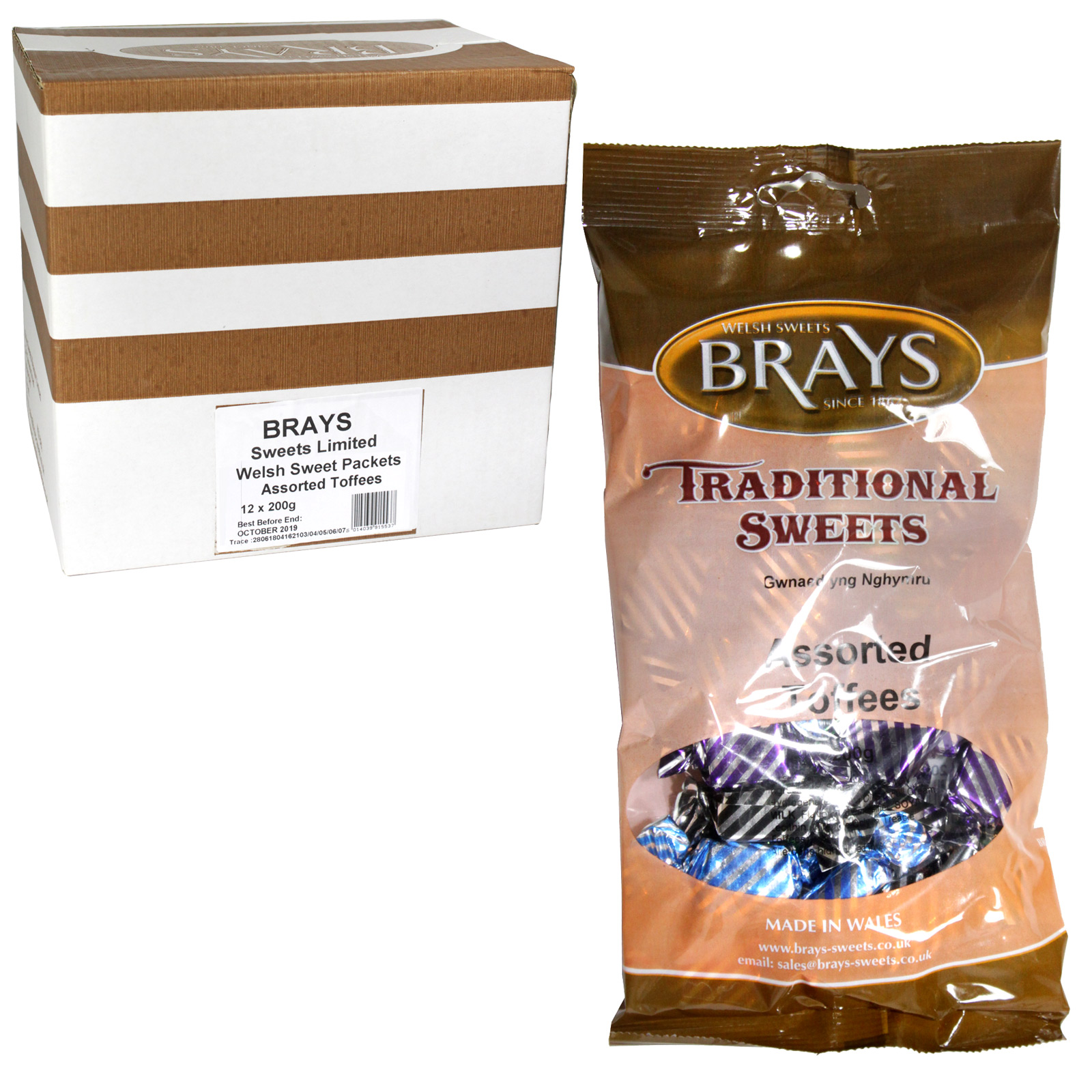 BRAYS 200GM BAG ASSORTED TOFFEES X12