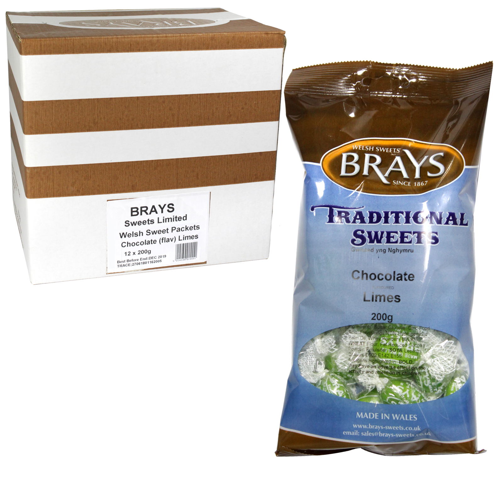 BRAYS 200GM BAG CHOCOLATE LIMES X12