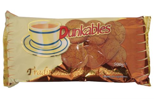 DUNKABLES GINGER BISCUITS 500GM X12