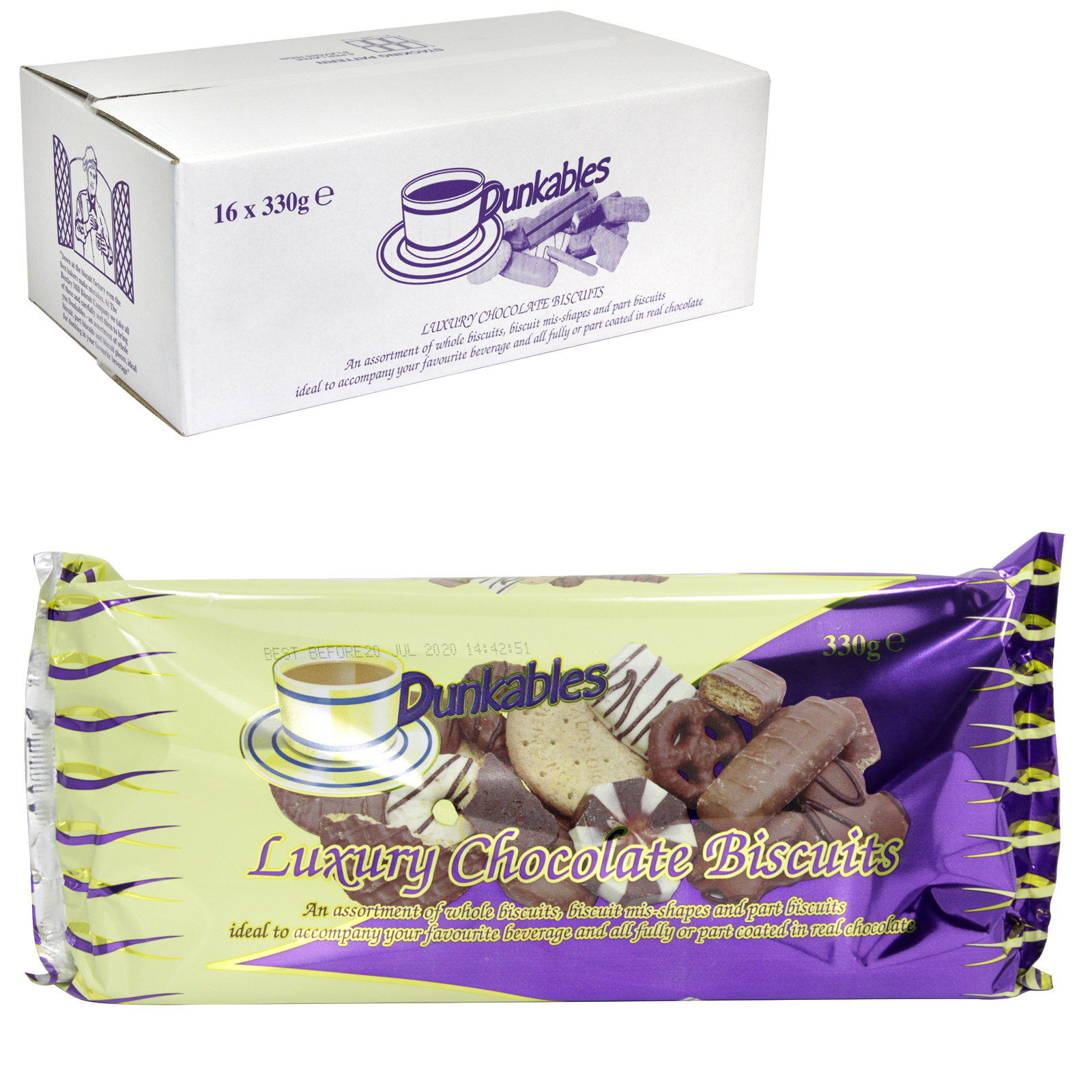 DUNKABLES LUXURY CHOC BISCUITS 330GM X16