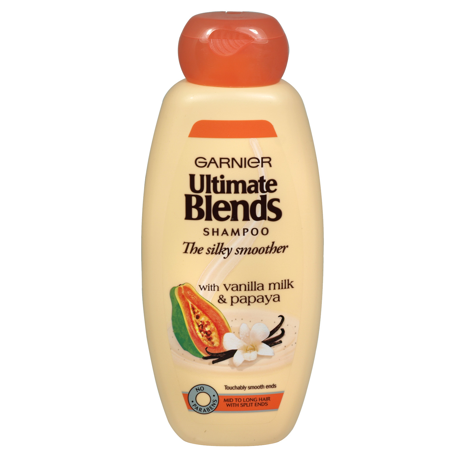 GARNIER ULTIMATE BLENDS 400ML S/POO VANILLA MILK+PAPAYA- SILKY SMOOTHER X6