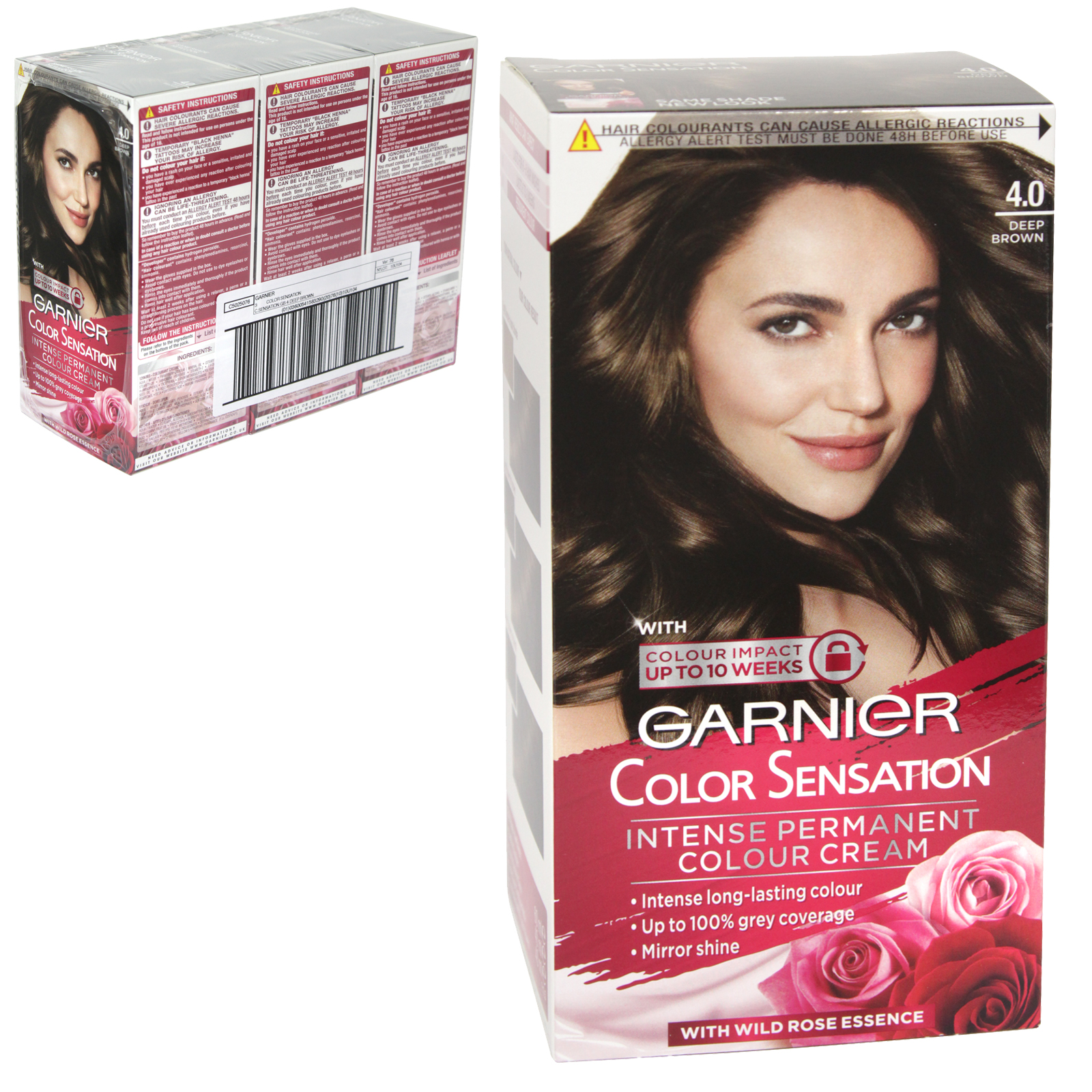 GARNIER HAIR COLOUR - DEEP BROWN 4.0 - X3