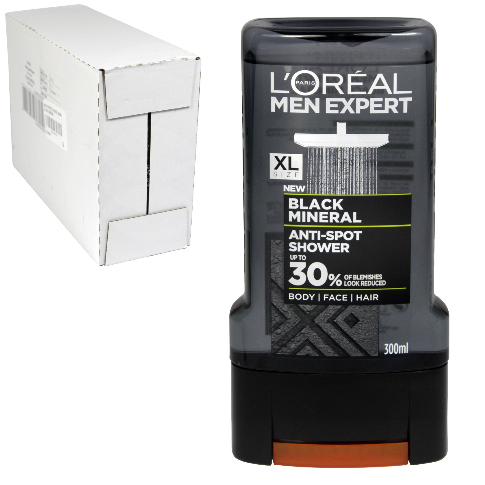 LOREAL MEN EXPERT SHOWER 300ML ANTI SPOT BLACK MINERAL X6