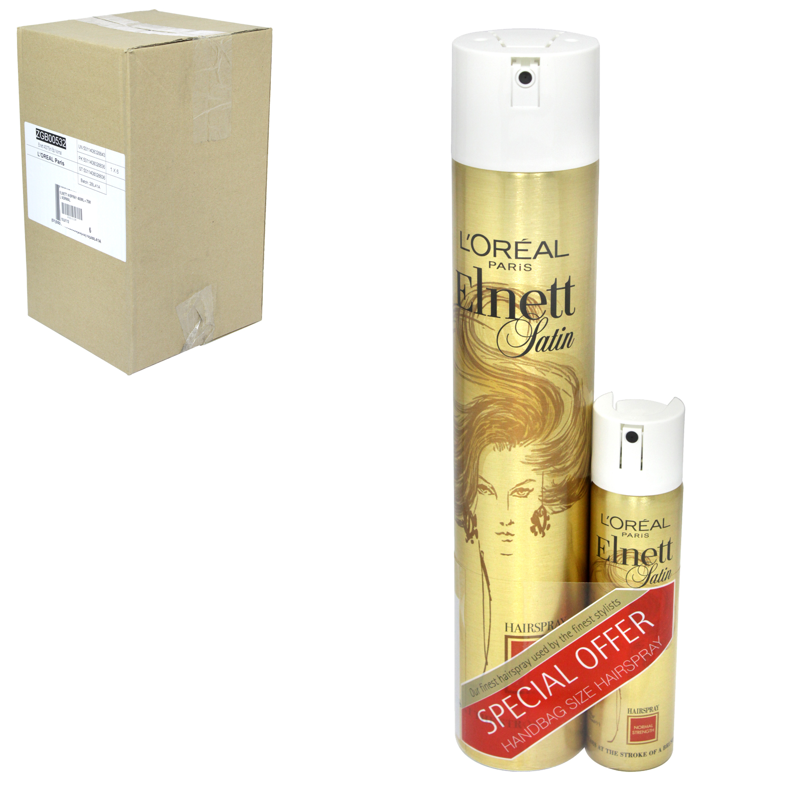 LOREAL ELNETT HAIRSPRAY 400ML+75ML NORMAL X6