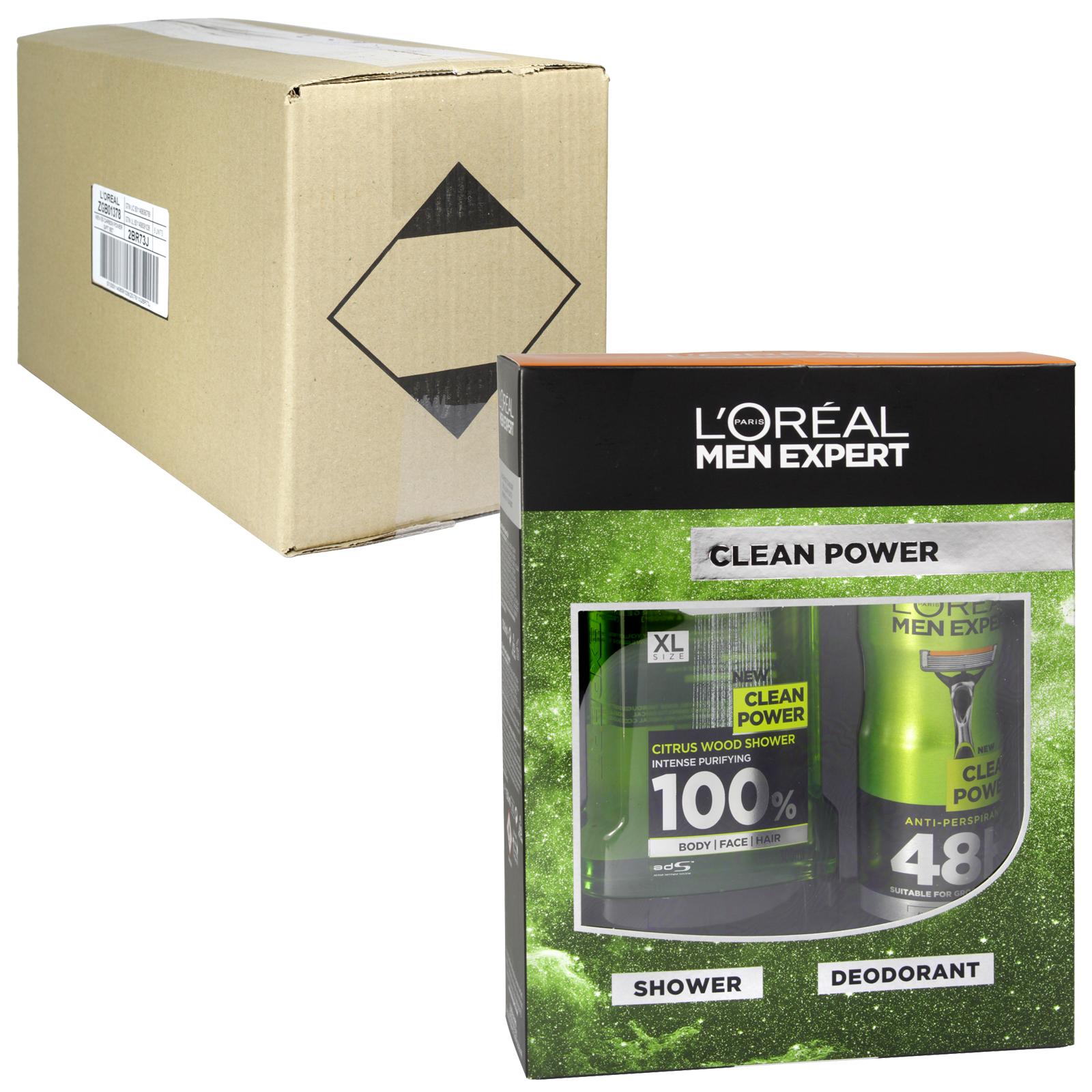 LOREAL MEN EXPERT 300ML SHOWER GEL+150ML DEOD CLEAN POWER X6