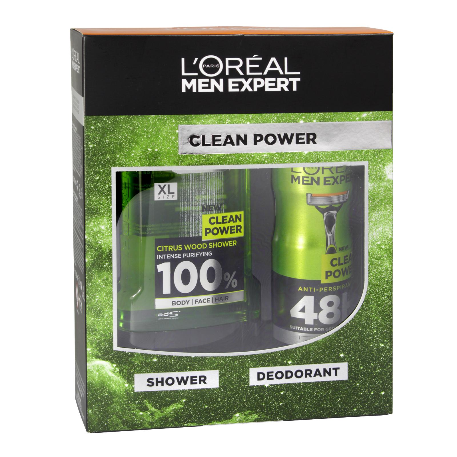 LOREAL MEN EXPERT 300ML SHOWER GEL+150ML DEOD CLEAN POWER