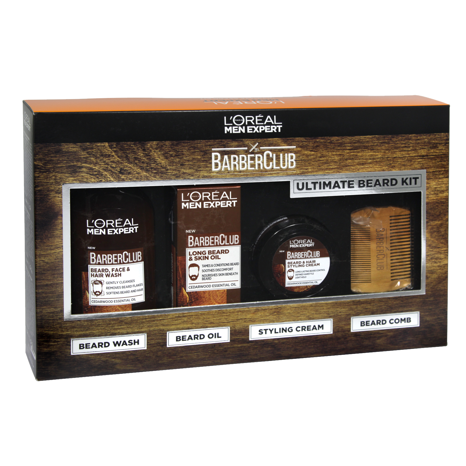 LOREAL MEN EXPERT BARBER CLUB 30ML BEARD OIL+75ML B/CREAM+200ML B/WASH+B/COMB