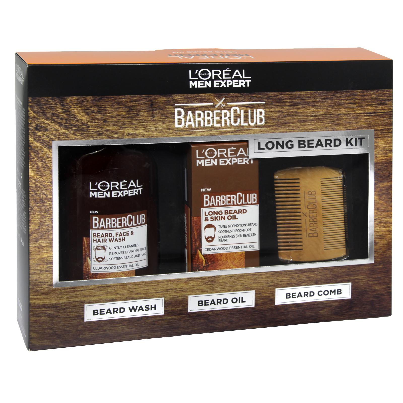 LOREAL MEN EXPERT BARBER CLUB LONG BEARD KIT 30ML BEARD OIL+200ML B/WASH+B/COMB