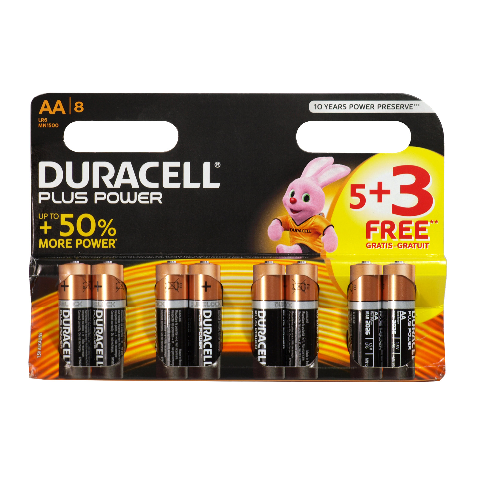 DURACELL PLUS POWER 5+3 FOC AA