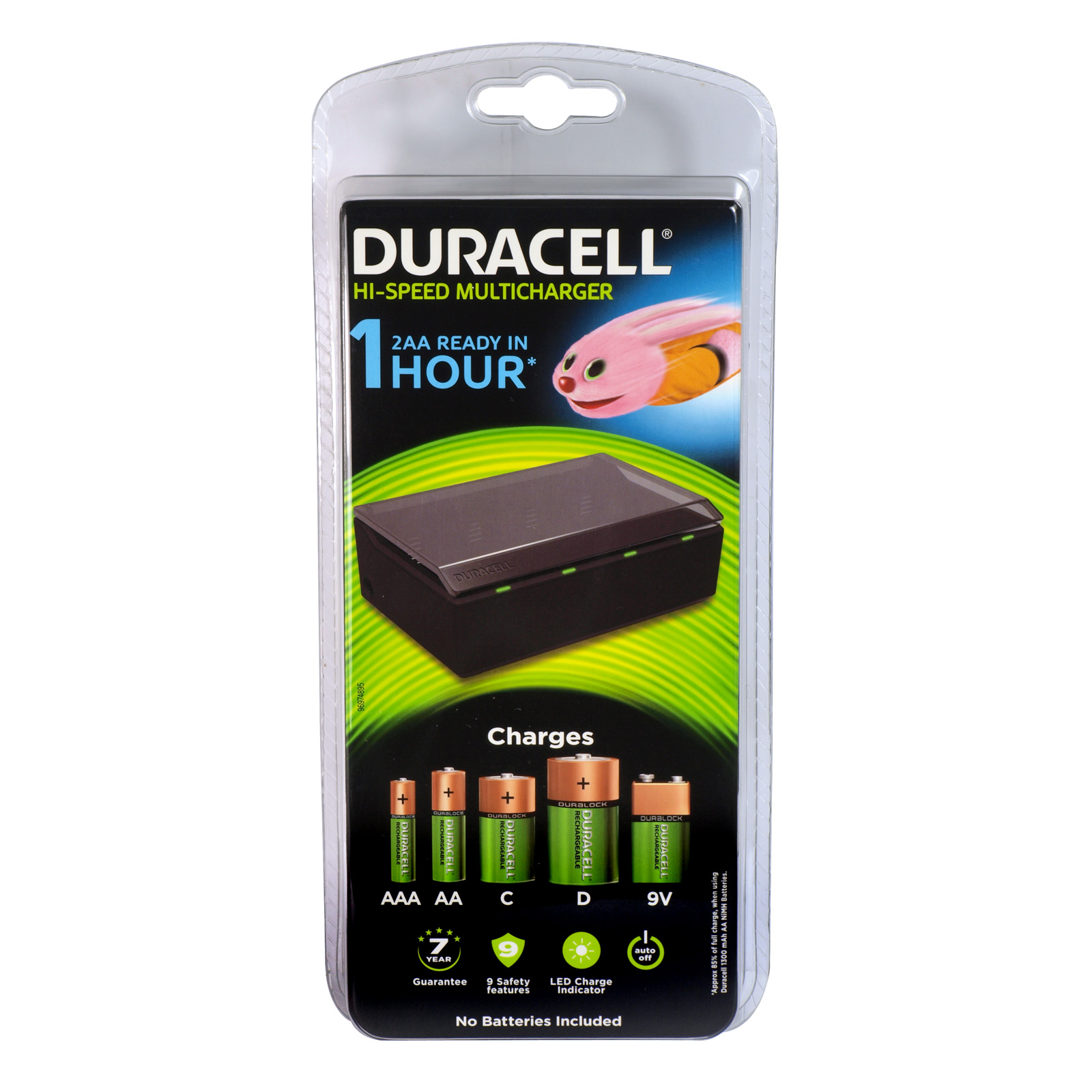 DURACELL HI-SPEED MULTI BATTERY CHARGER CHARGES AAA/AA/C/D/9V