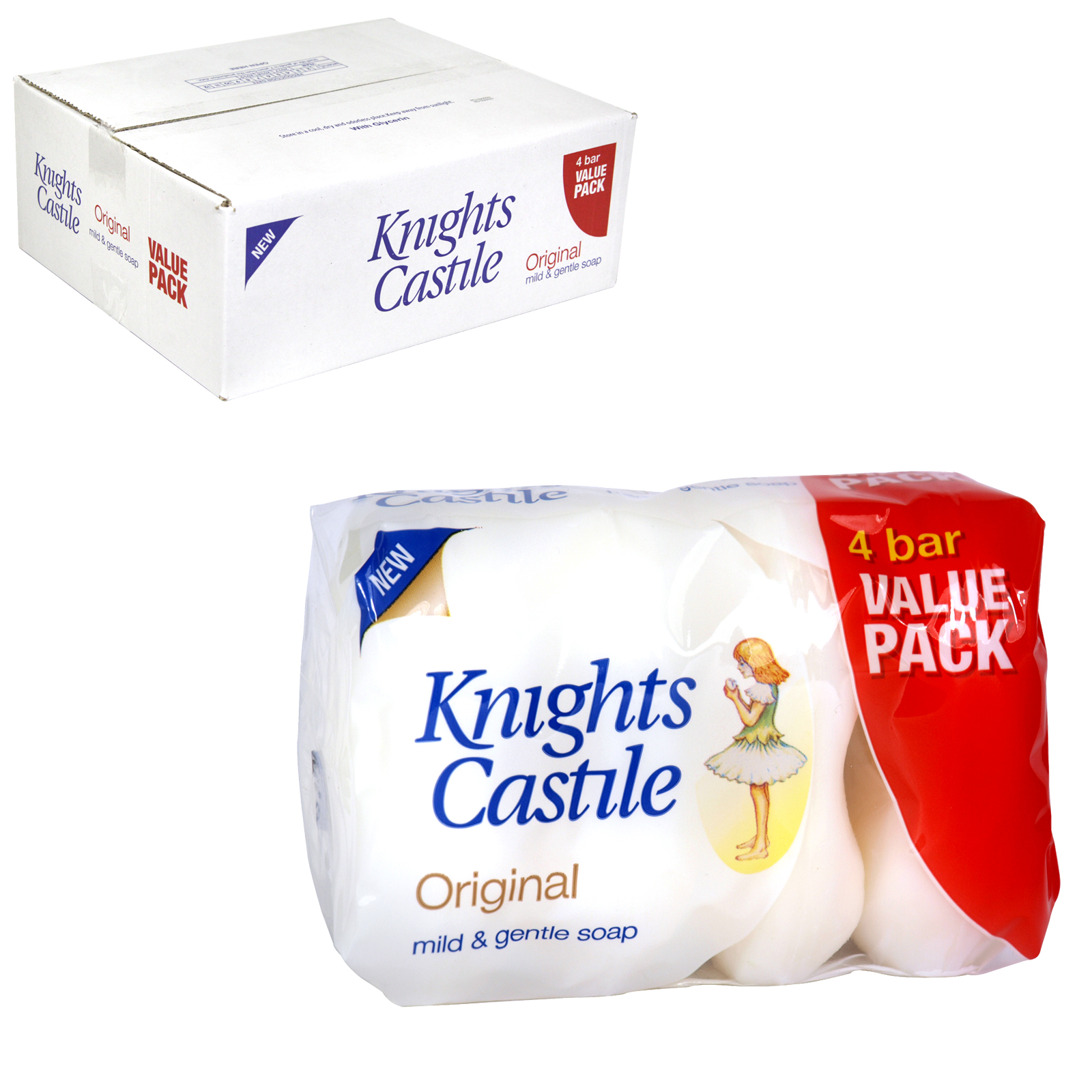 KNIGHTS CASTILE SOAP 4X90GM MILD+GENTLE X20