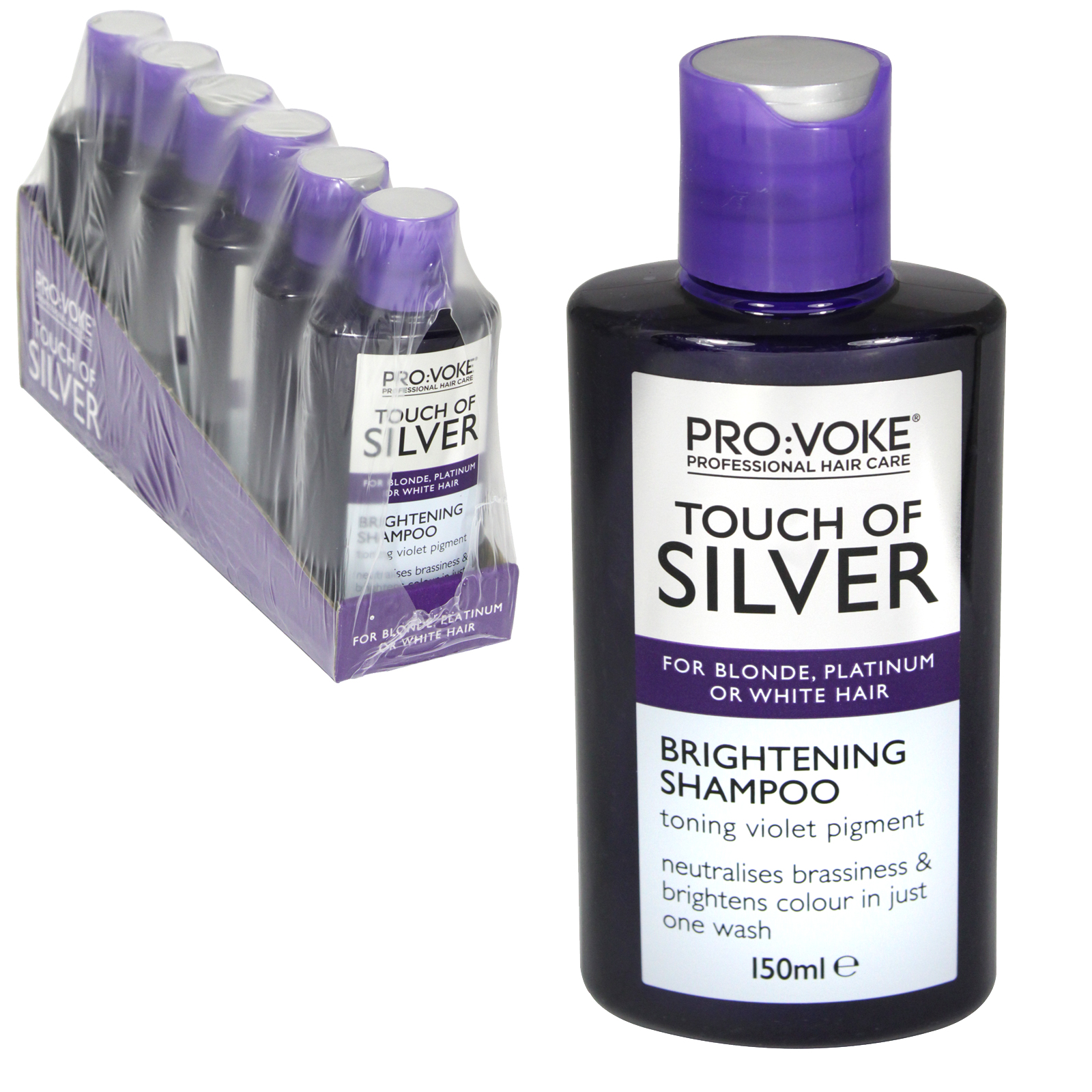 TOUCH OF SILVER SHAMPOO 150ML BRIGHTENING X6