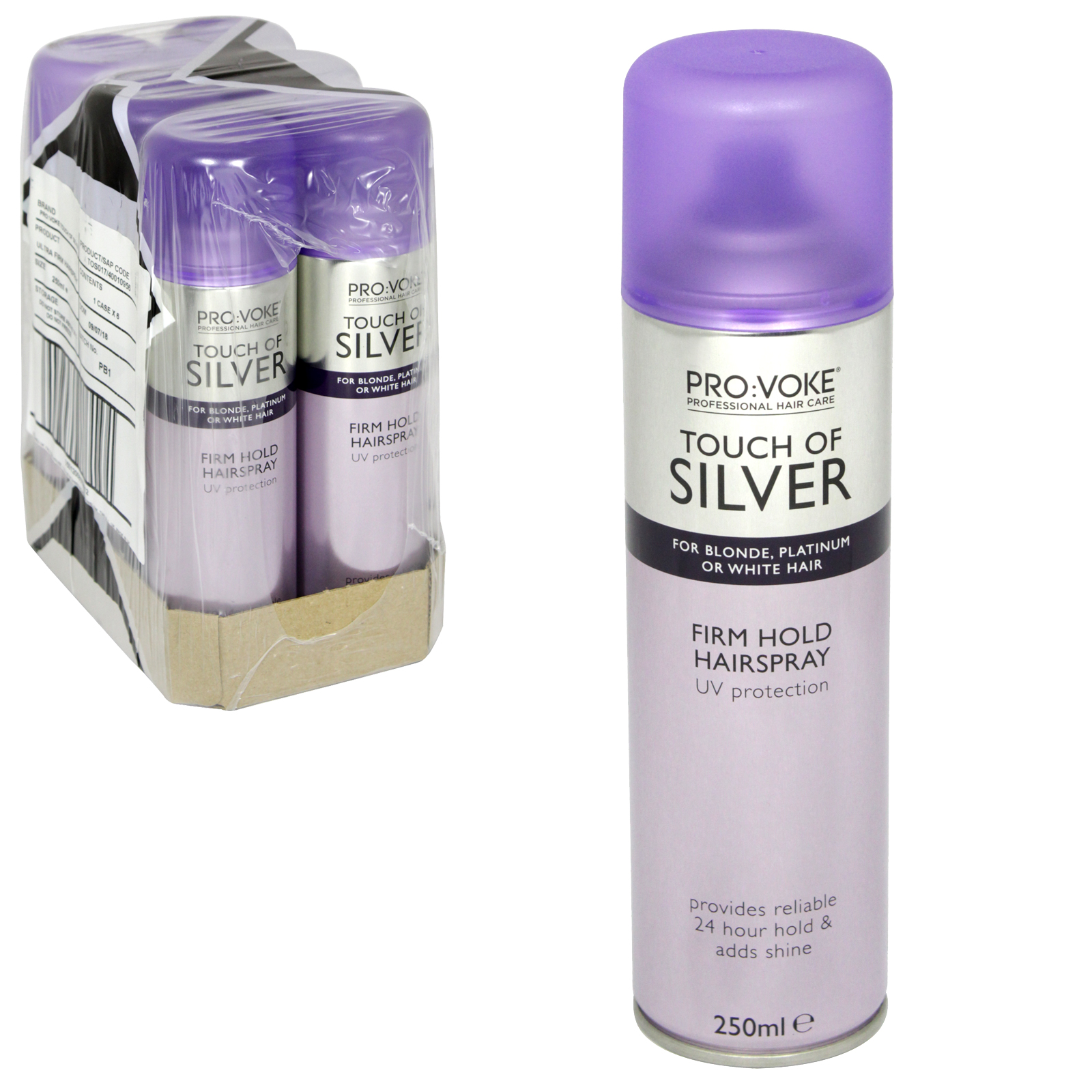 TOUCH OF SILVER HAIRSPRAY 250ML ULTRA HOLD X6