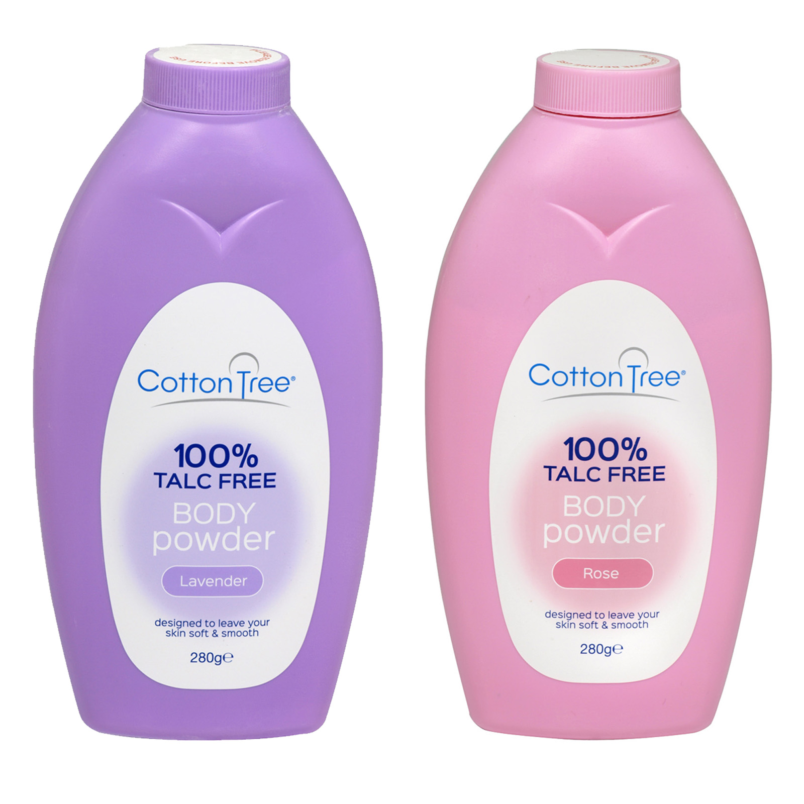 COTTON TREE BODY POWDER 280GM 100% TALC FREE 6 LAVENDER+6 ROSE X12