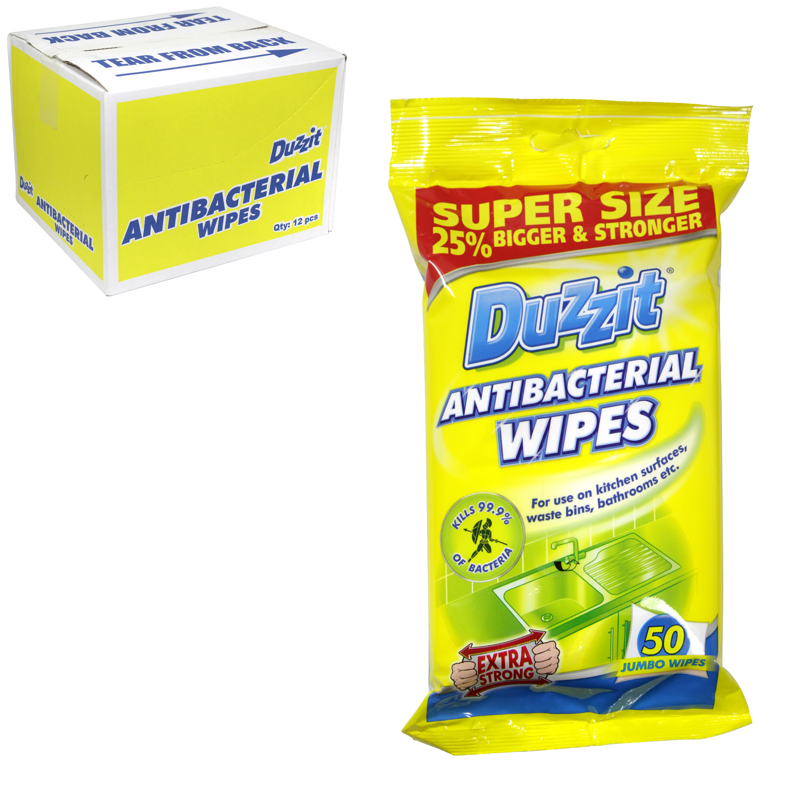 DUZZIT ANTI-BAC WIPES 50 JUMBO WIPES X12