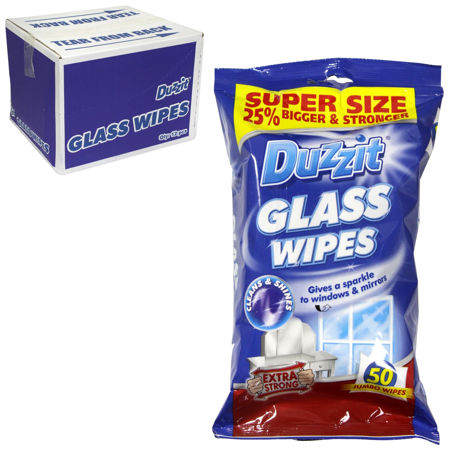 DUZZIT GLASS WIPES 50 JUMBO WIPES X12
