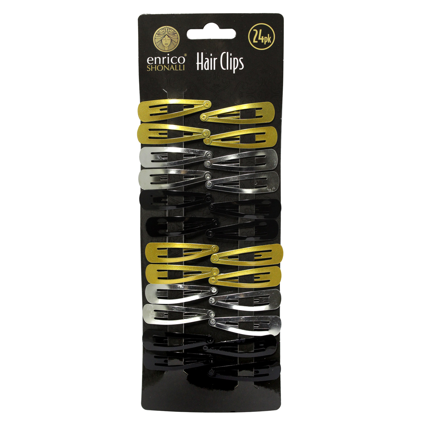 ENRICO HAIR SLIDES 24PK BLK/GOLD/SILVER