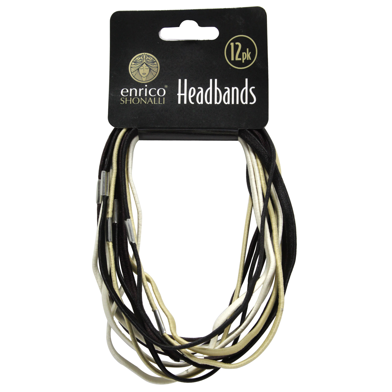 ENRICO HEADBANDS 12PK BLACK-GOLD-SILVER