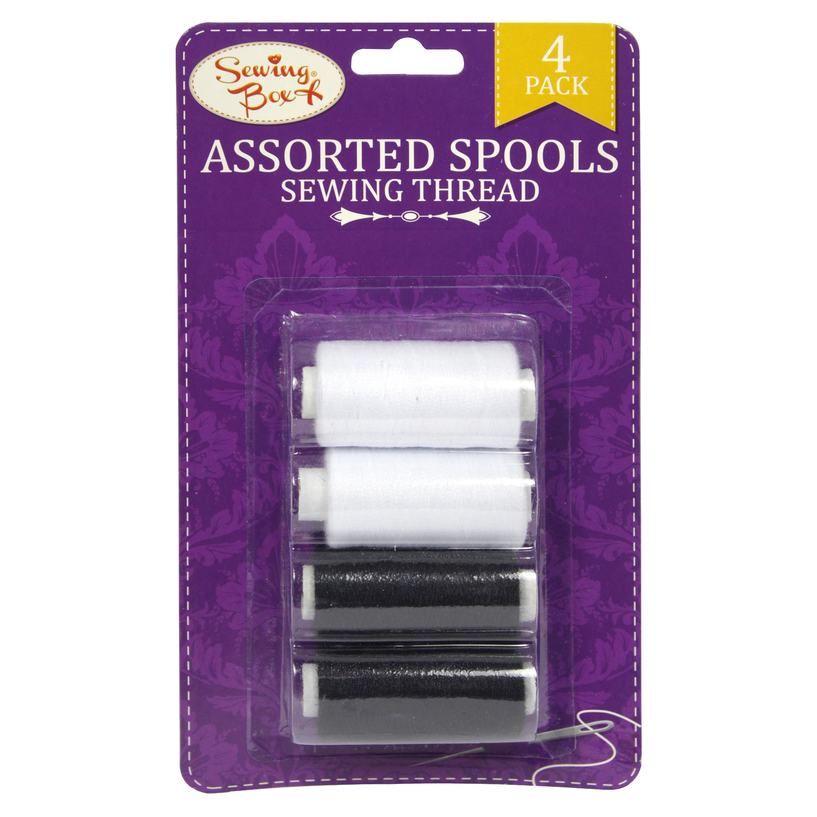 SEWING BOX THREAD 4 SPOOLS BLK+WHITE