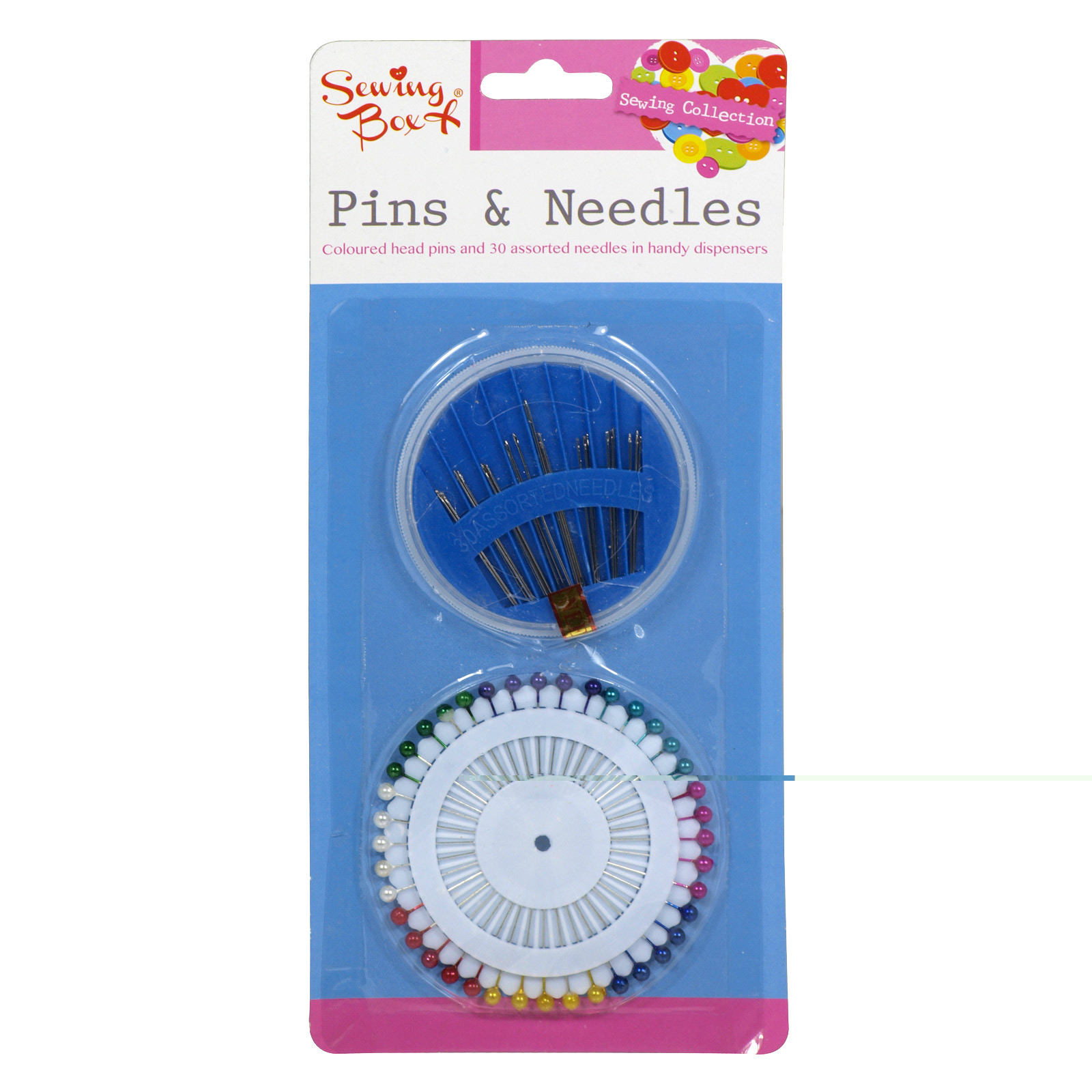 SEWING BOX PINS AND NEEDLES ASSORTED