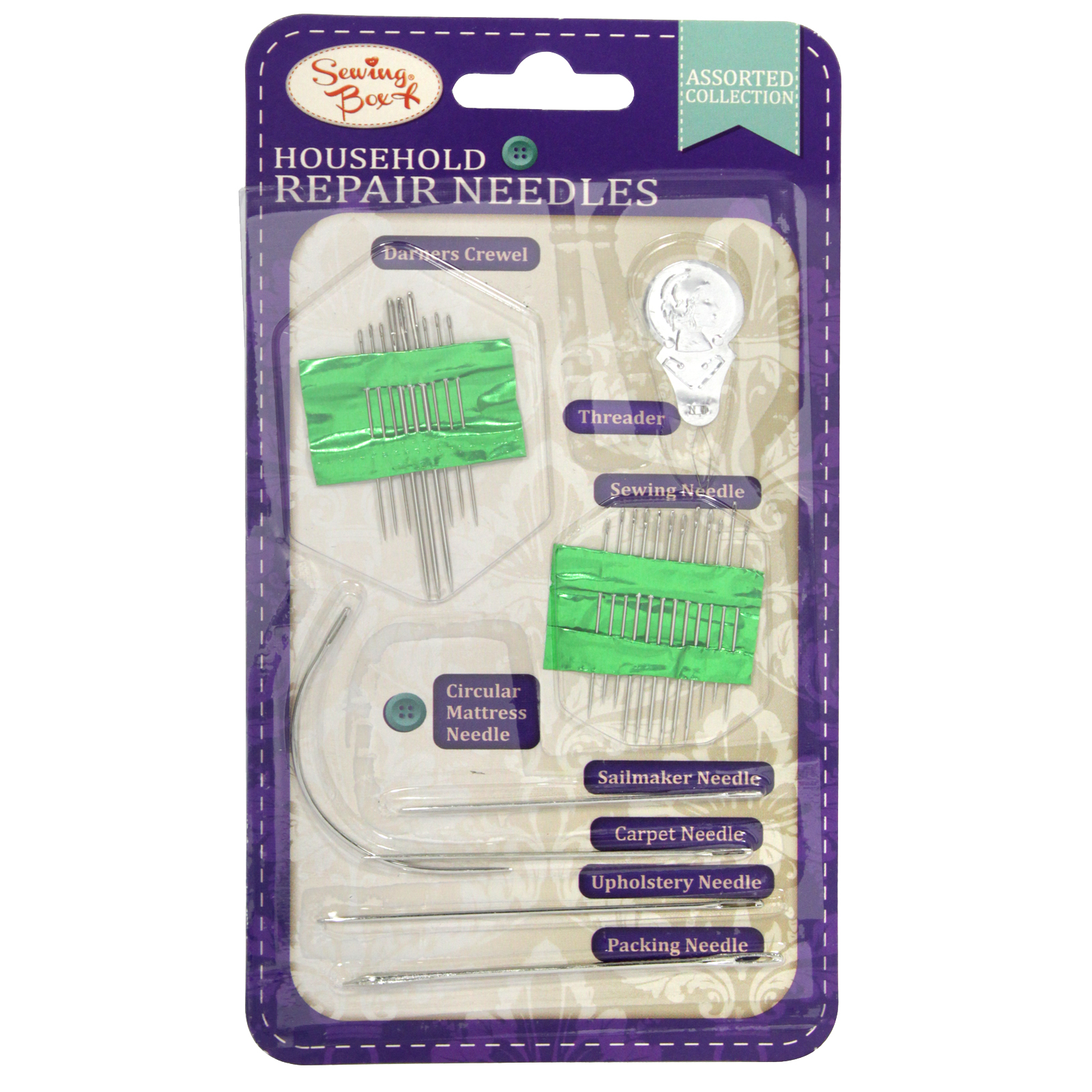 SEWING BOX HOUSEHOLD REPAIR NEEDLES