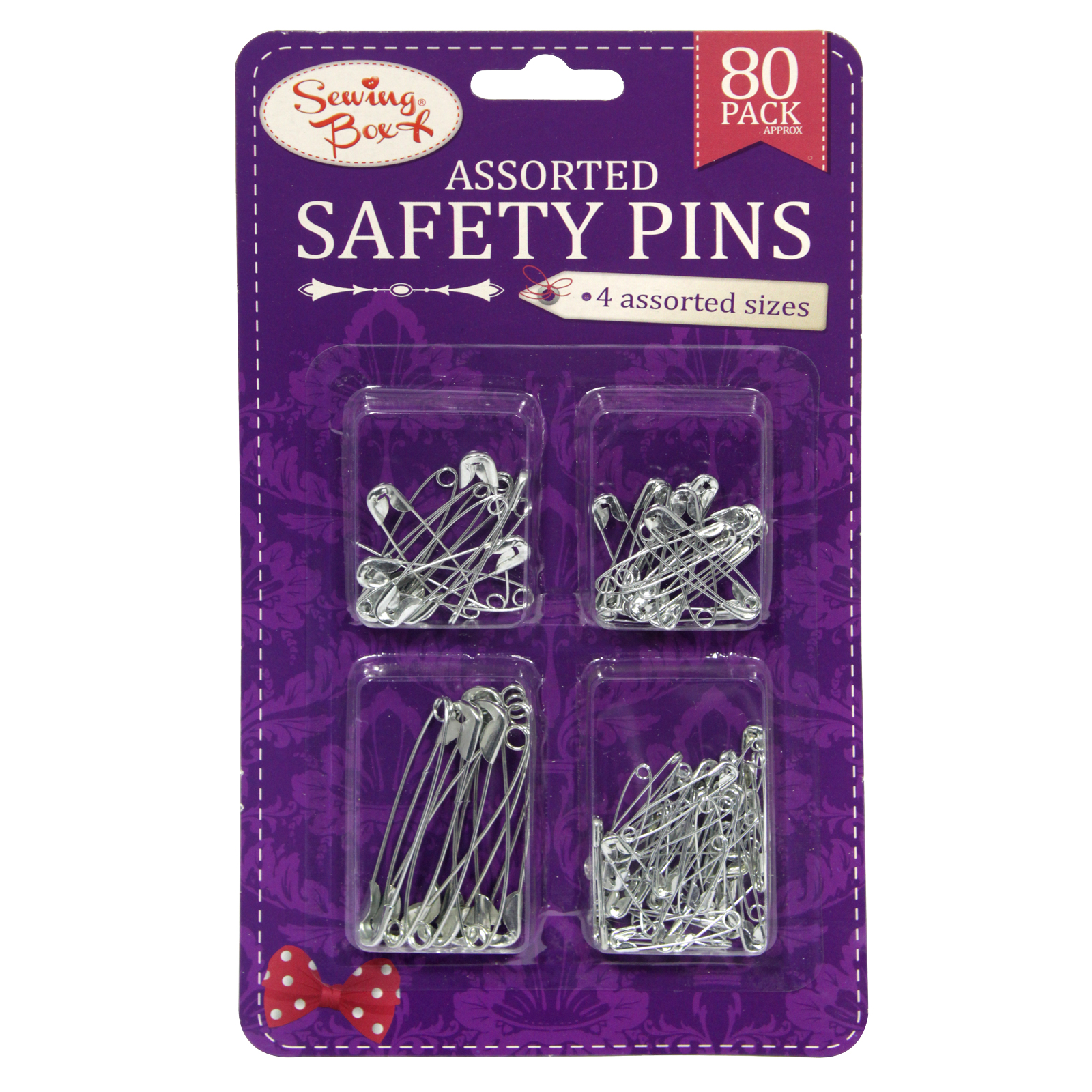 SEWING BOX SAFETY PINS ASSORTED SILVER