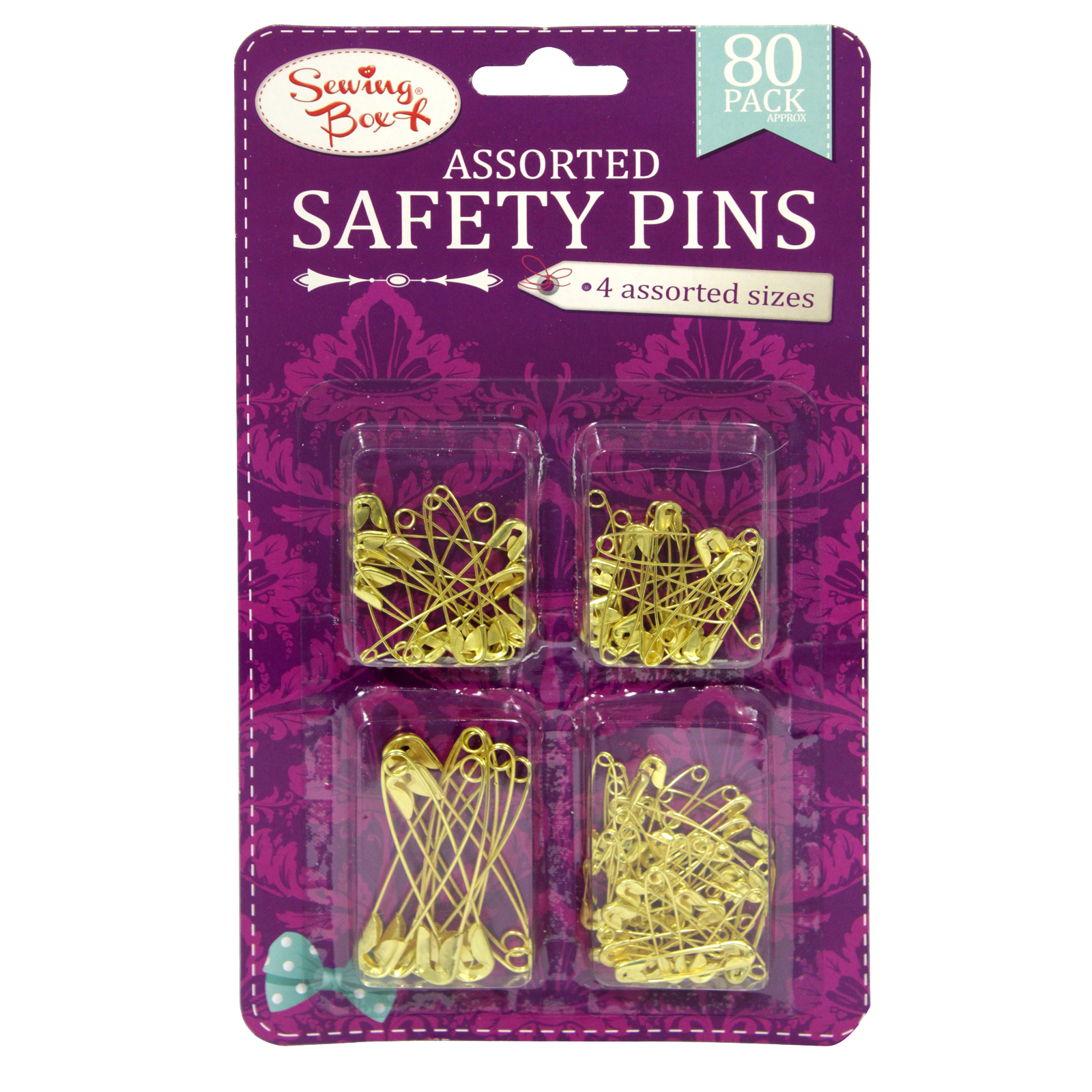 SEWING BOX SAFETY PINS ASSORTED GOLD