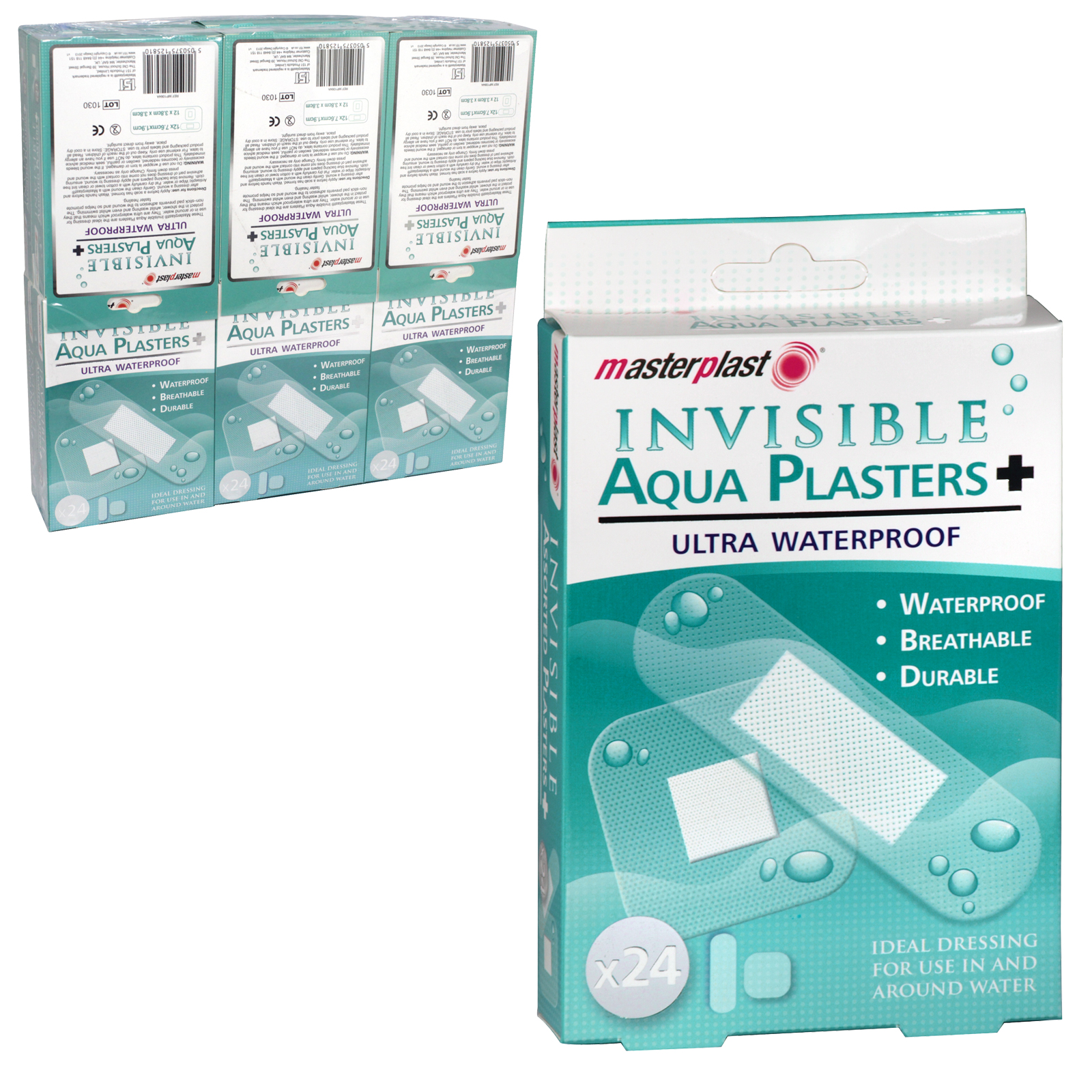 MASTER PLASTER 24 INVISIBLE AQUA PLASTERS ULTRA WATERPROOF X12