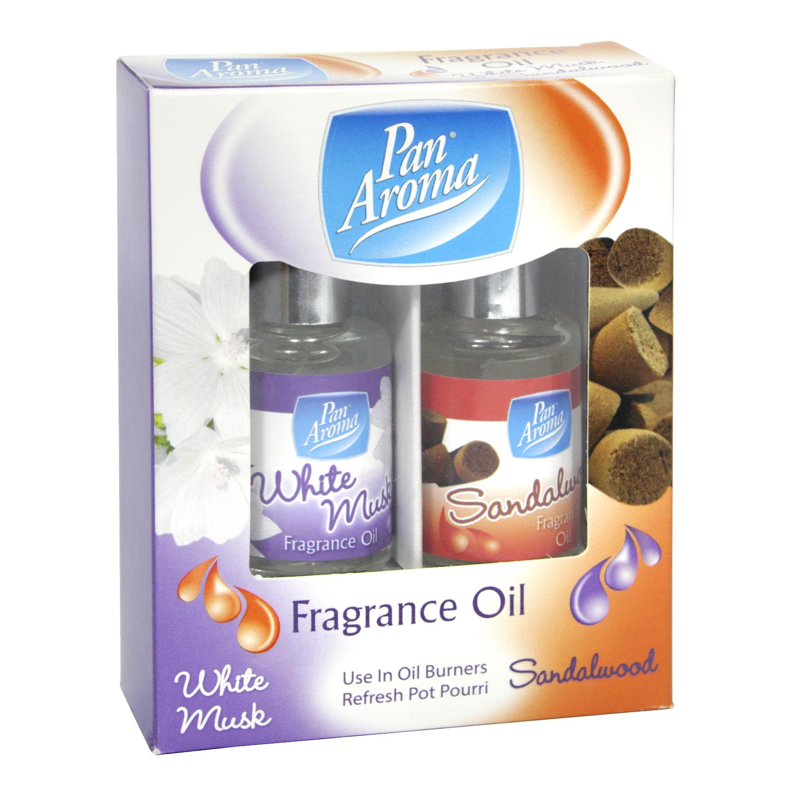 PAN AROMA 2X10ML FRAGRANCE OILS MUSK+SANDALWOOD