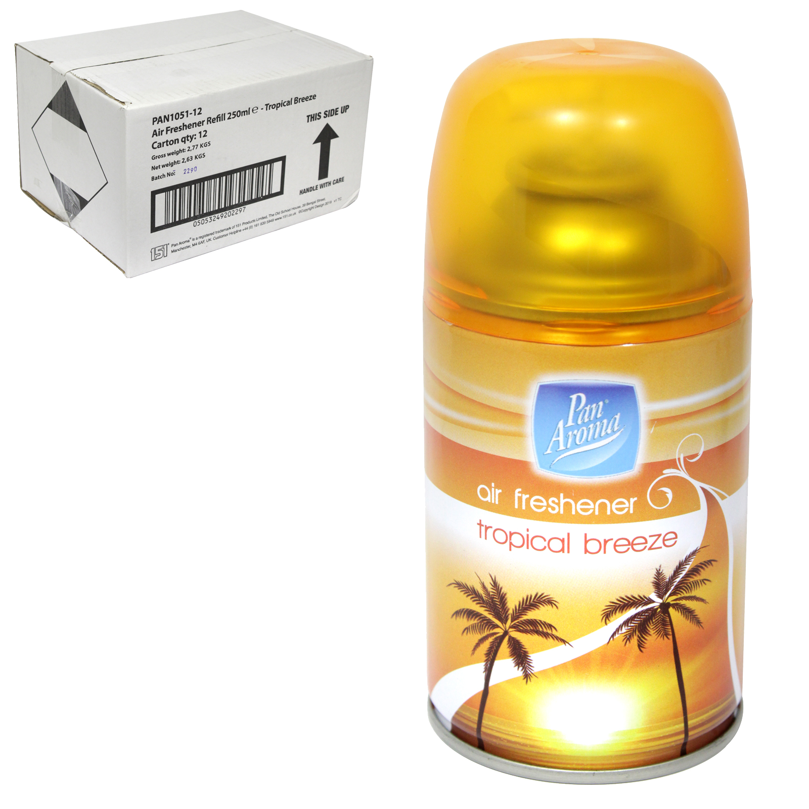 PAN AROMA AIR FRESHENER REFILL 250ML TROPICAL BREEZE X12