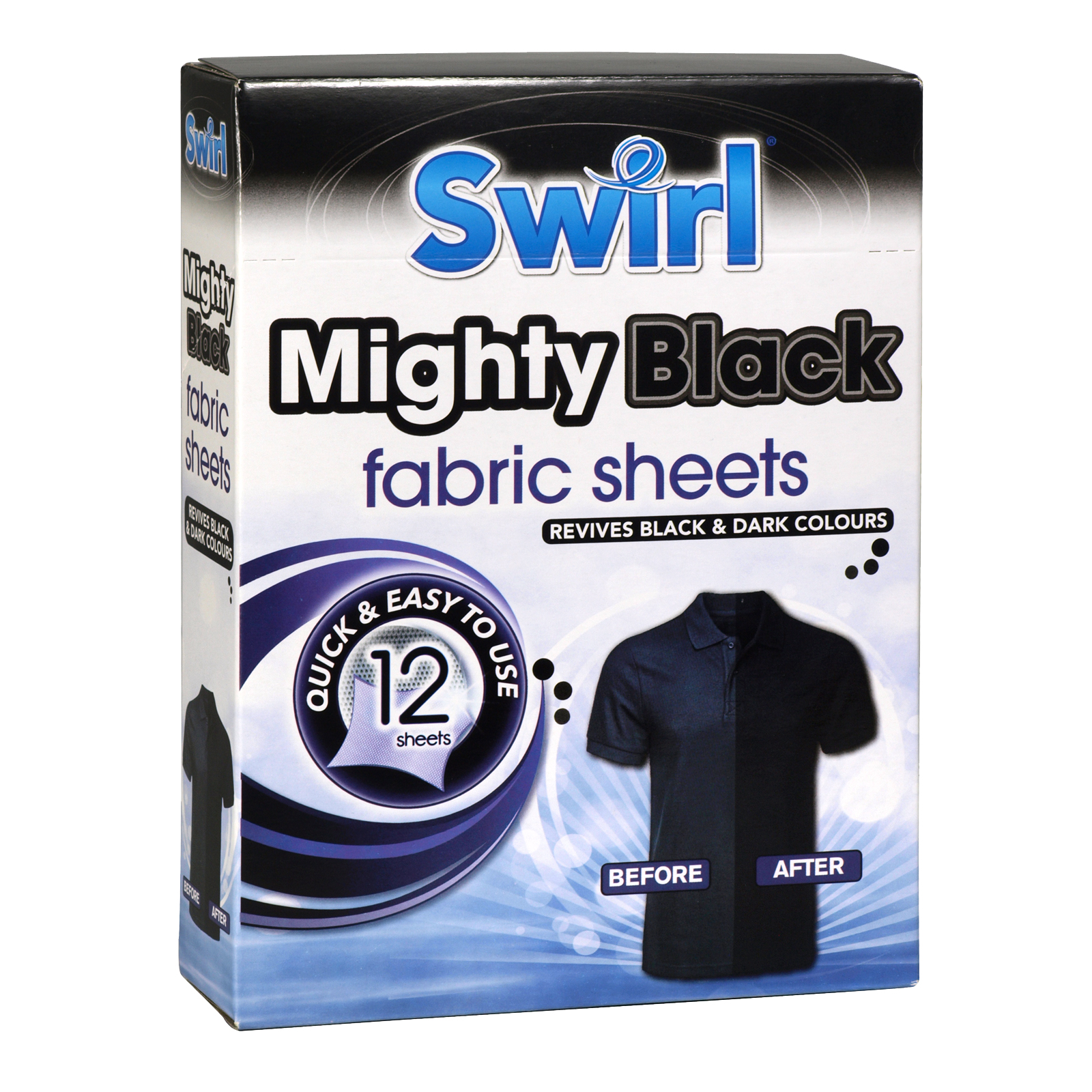 SWIRL MIGHTY 12 BLACK FABRIC SHEETS