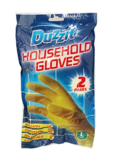 DUZZIT RUBBER GLOVES 2PK LARGE X12