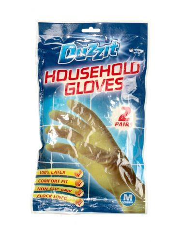 DUZZIT RUBBER GLOVES 2PK MEDIUM X12