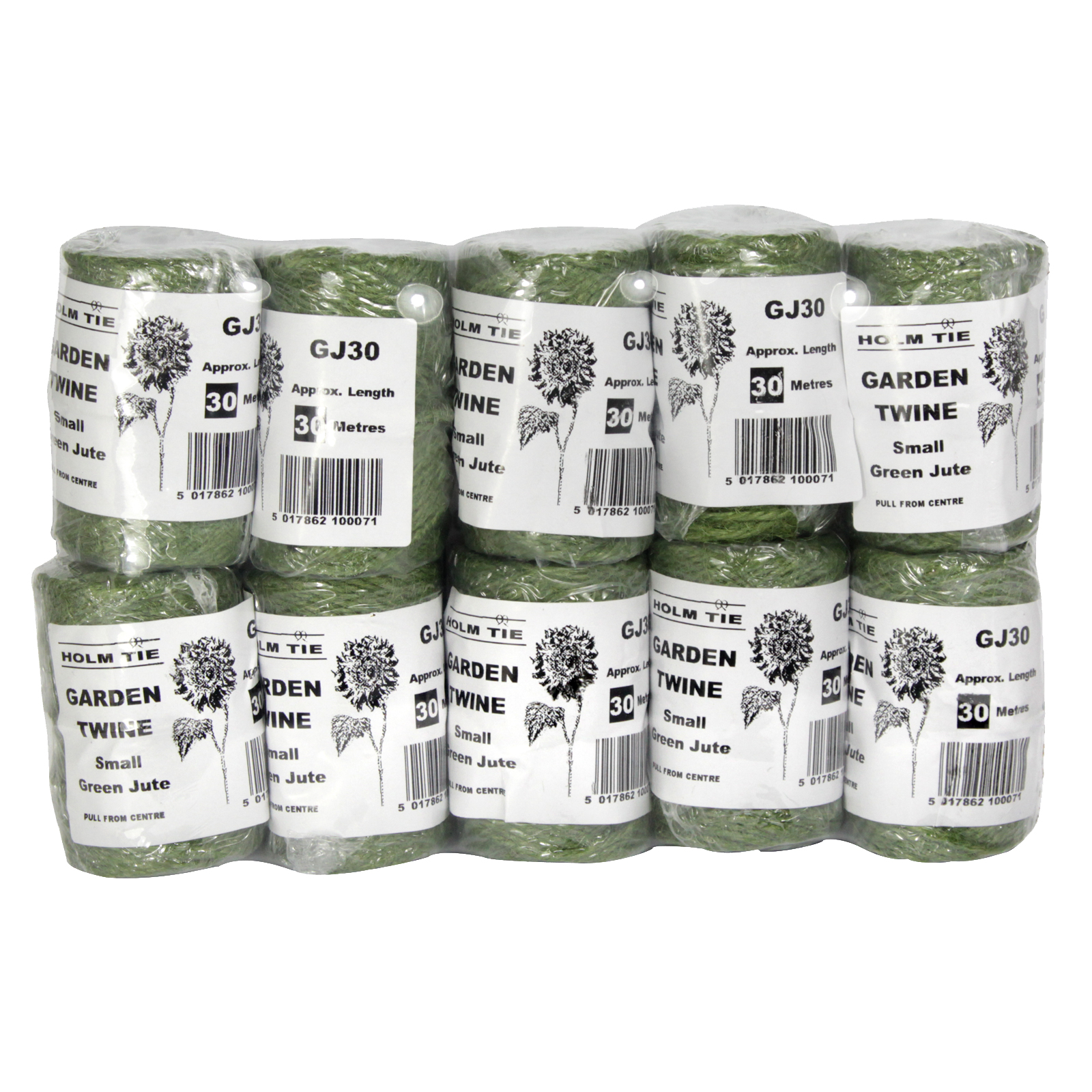 JUTE TWINE 3PLYX30M SPOOL GREEN X10