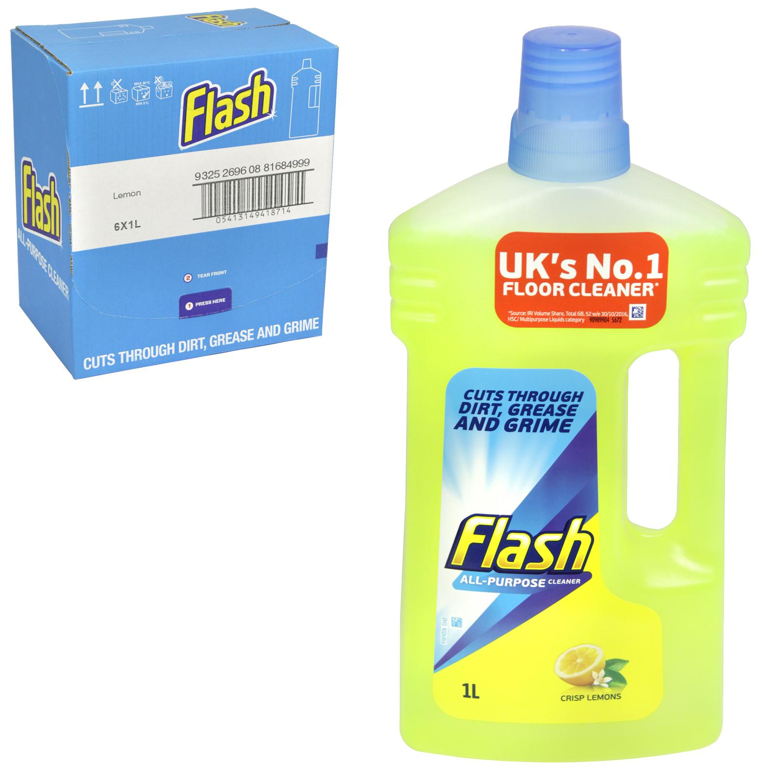 FLASH CLEAN+SHINE ALL PURP 1L LEMON X6