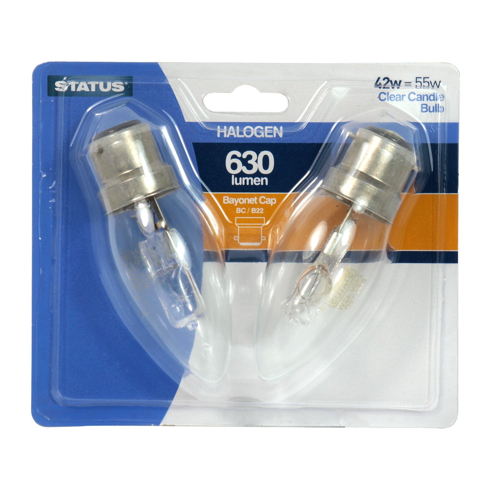 STATUS HALOGEN CANDLE LIGHT BULB 2X42W 630 LUMEN BC CLEAR
