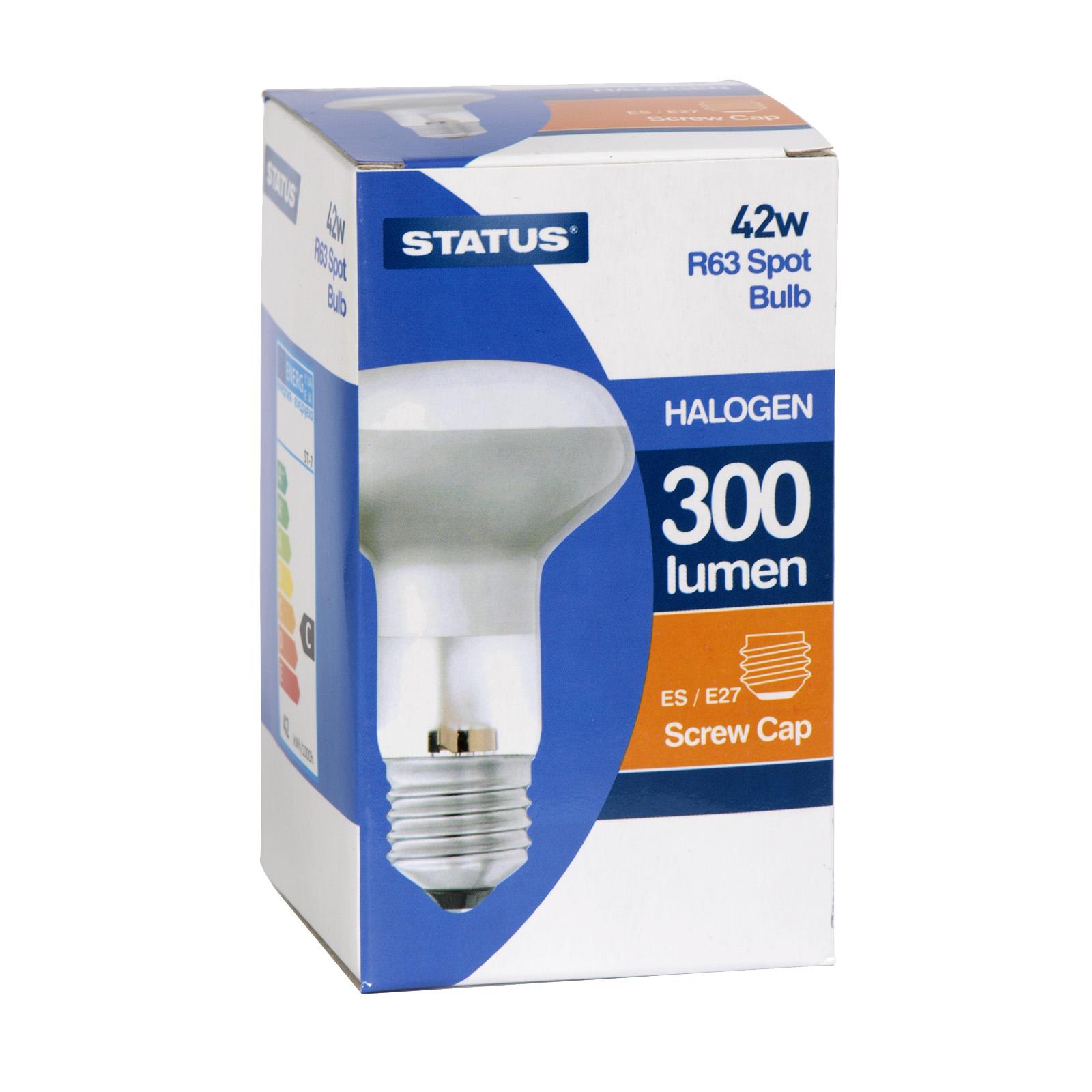 STATUS HALOGEN LIGHT BULB R63 SPOT 42W=60W ES