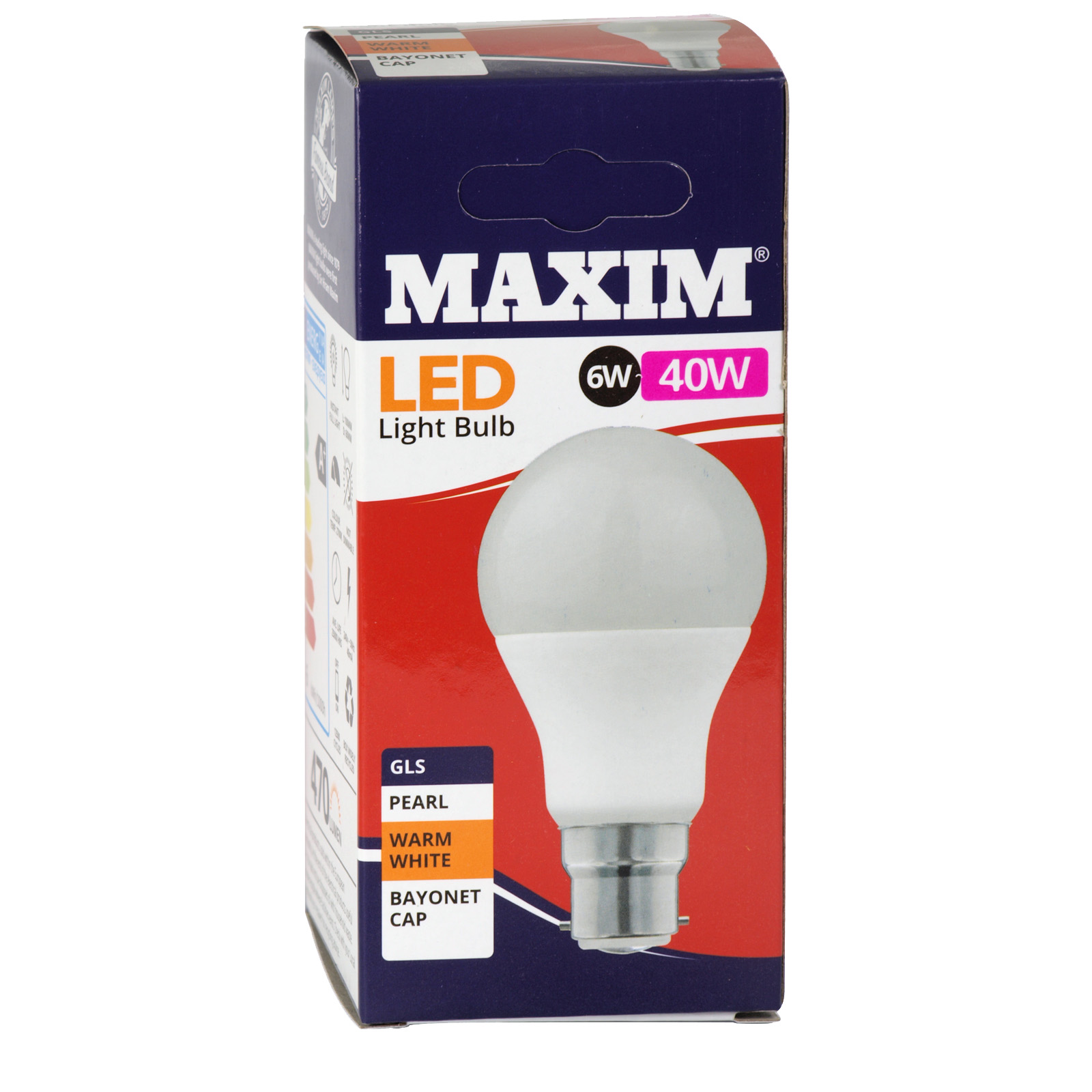 STATUS LED WARM WHITE PEARL LIGHT BULB GLS BC 6W=40W 470 LUMEN X10