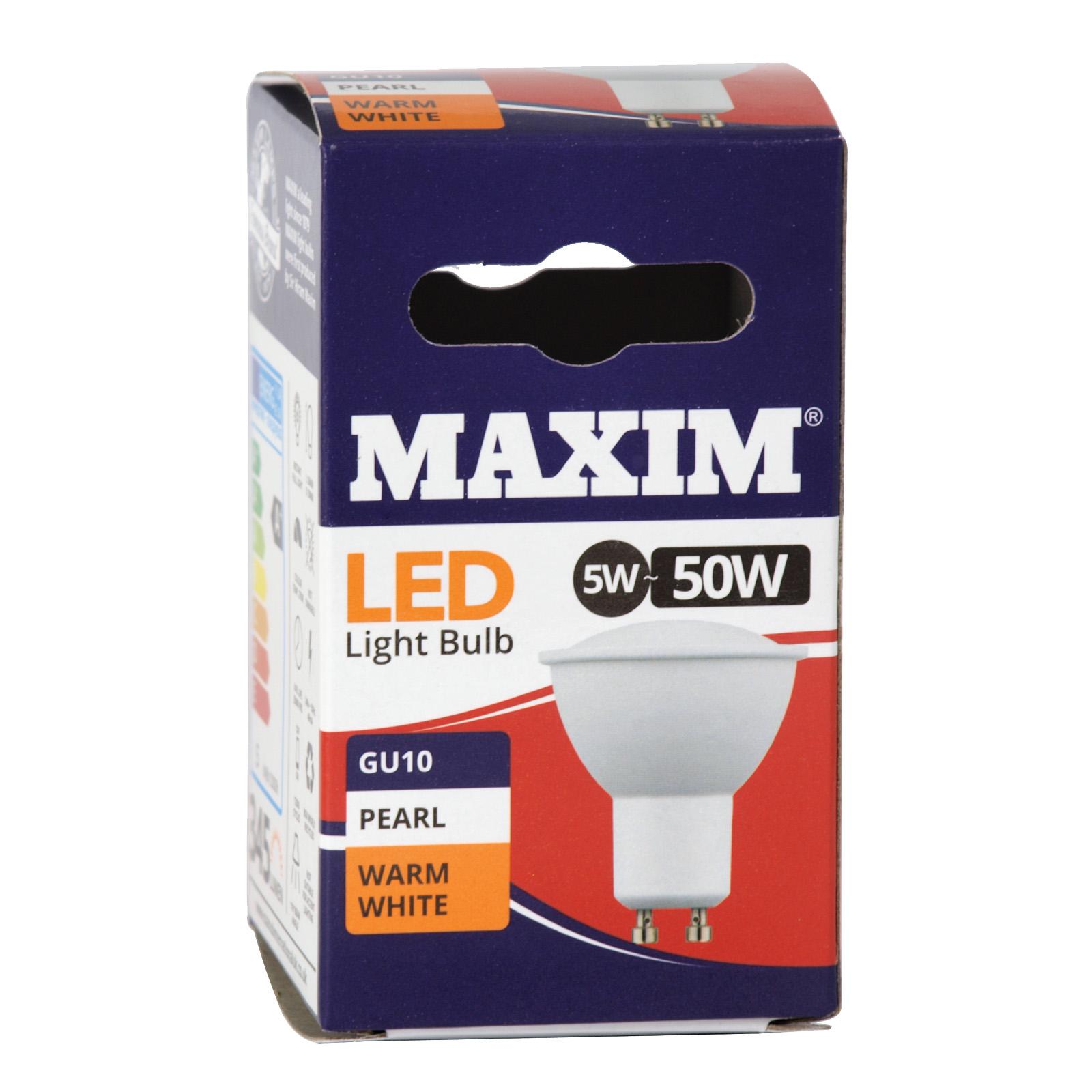 STATUS LED WARM WHITE PEARL LIGHT BULB GU10 5W=50W 345 LUMEN X10