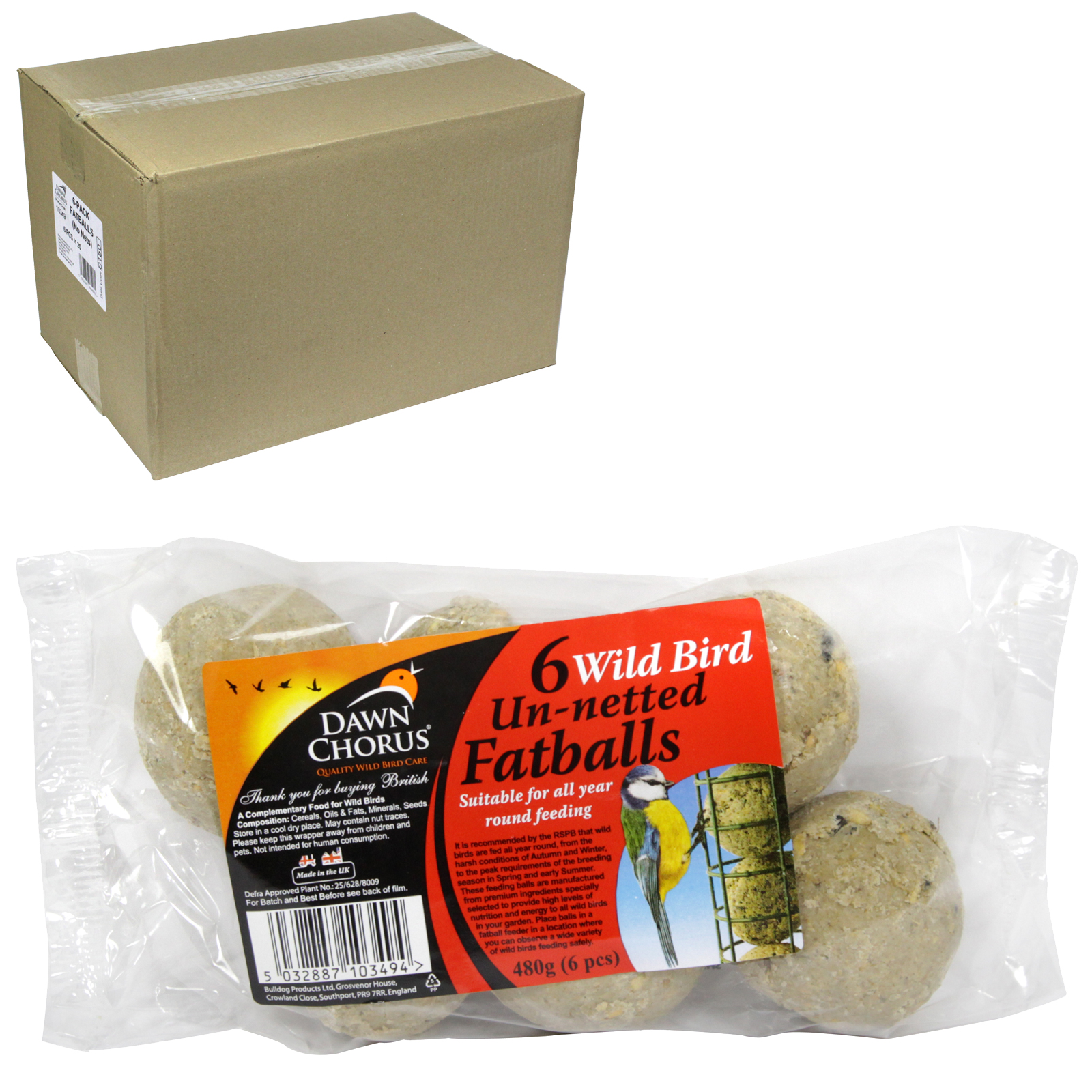 DAWN CHORUS BIRD SEED FAT BALLS 6PK UN-NETTED X20