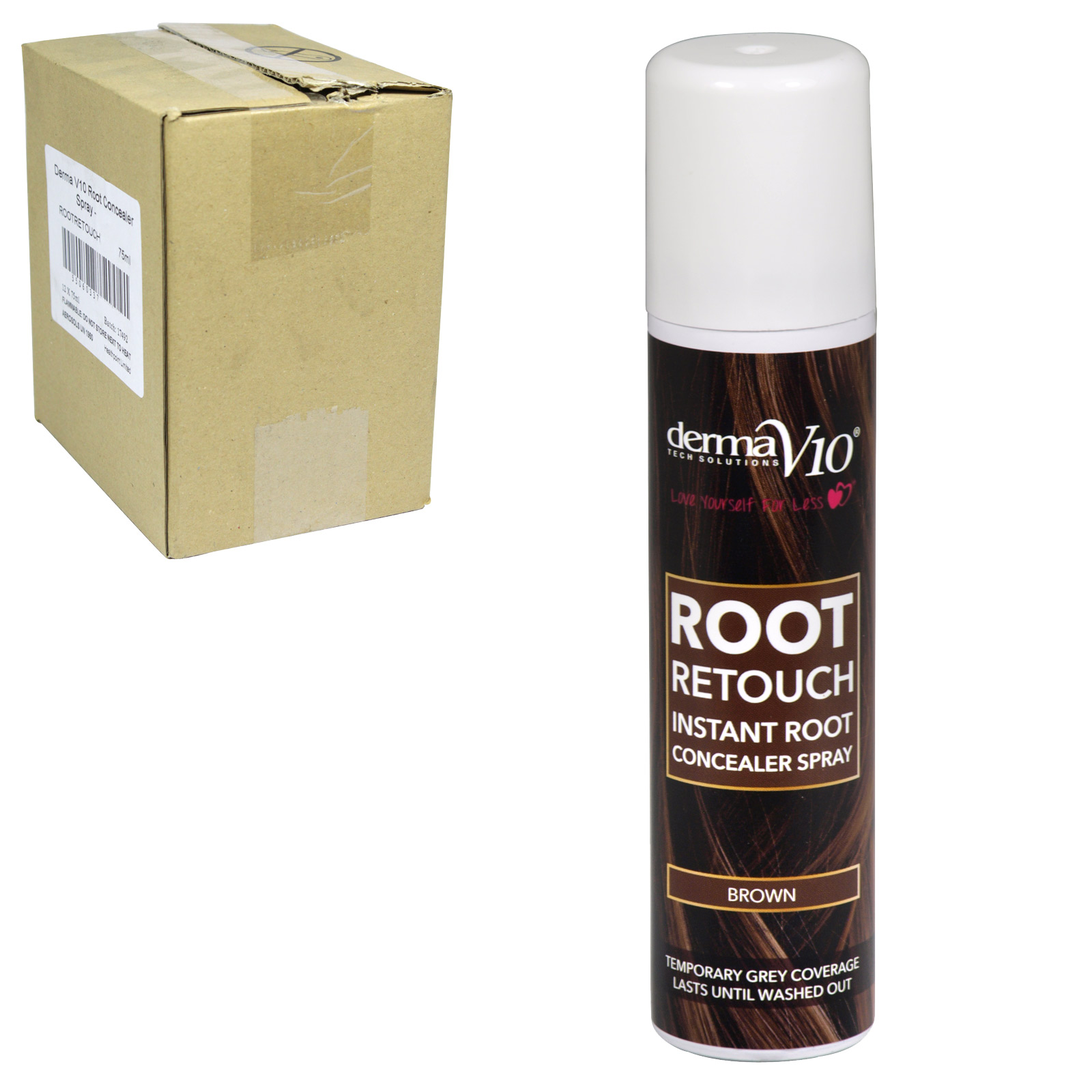 DERMA V10 ROOT RETOUCH 75ML BROWN X12