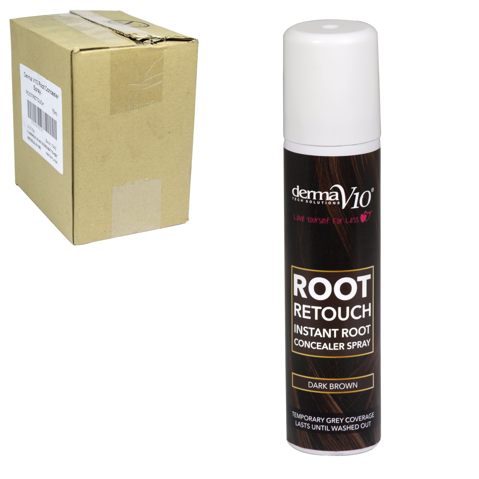 DERMA V10 ROOT RETOUCH 75ML DARK BROWN X12