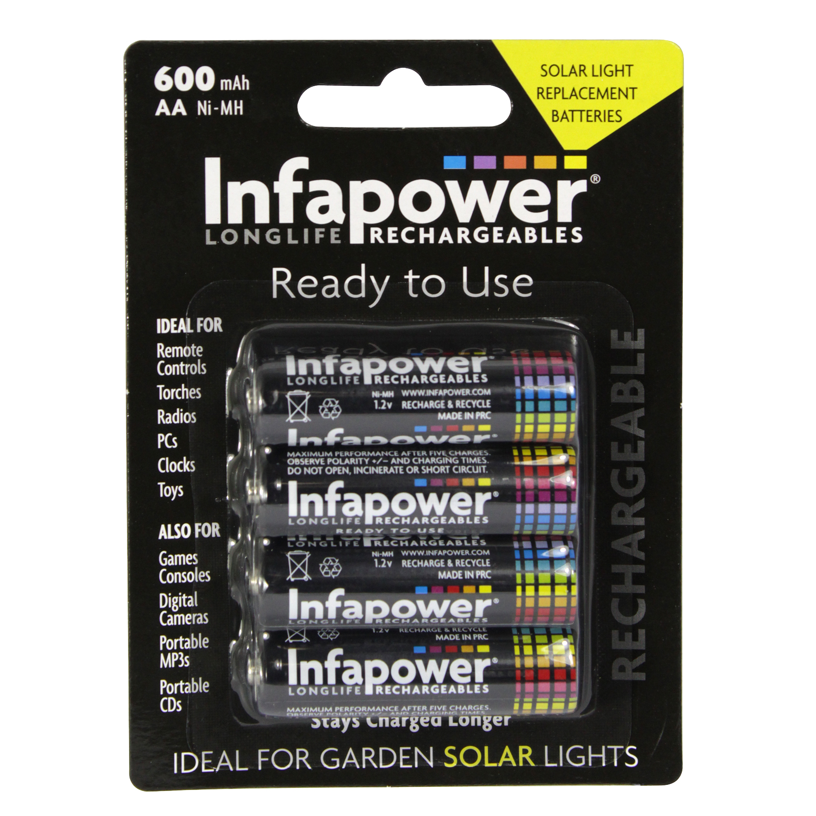 INFAPOWER RECHARGEABLE BATTERIES READY TO USE AA 4PK 600MAH