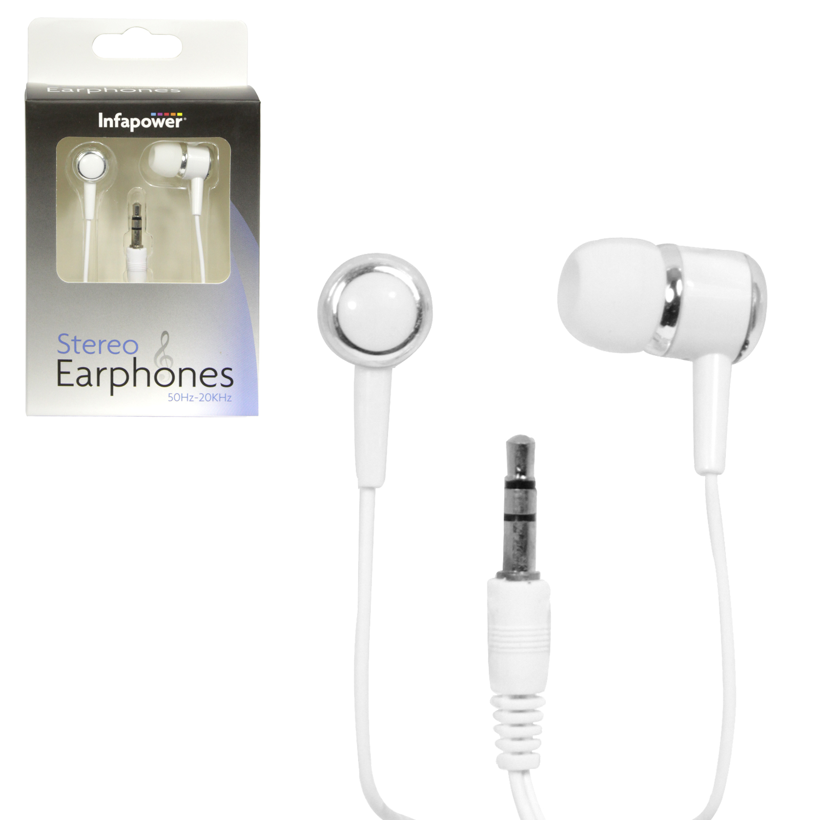 INFAPOWER STEREO EARPHONES WIRED WHITE