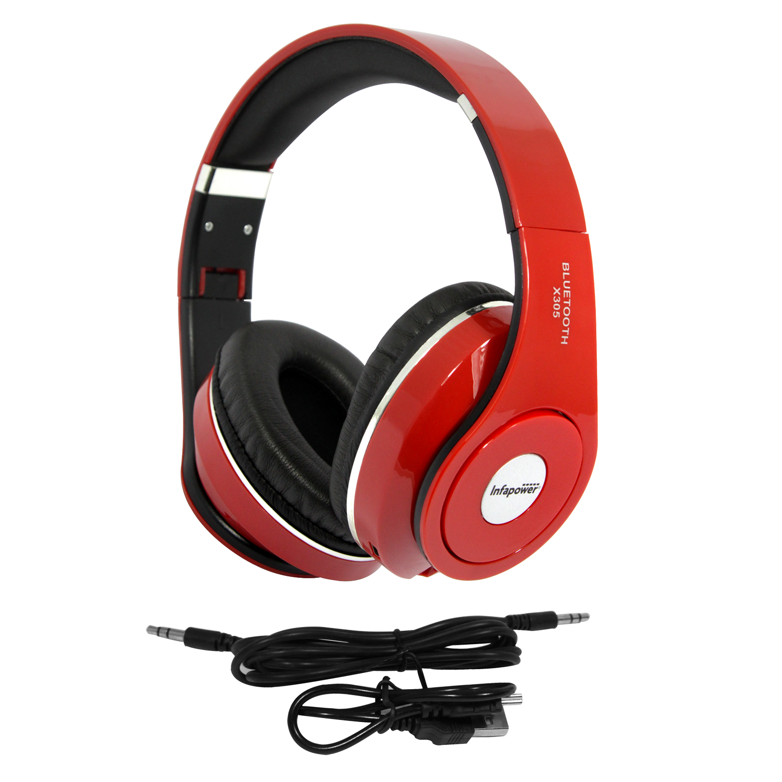INFAPOWER X305 STEREO HEADPHONES BLUETOOTH WIRELESS RED