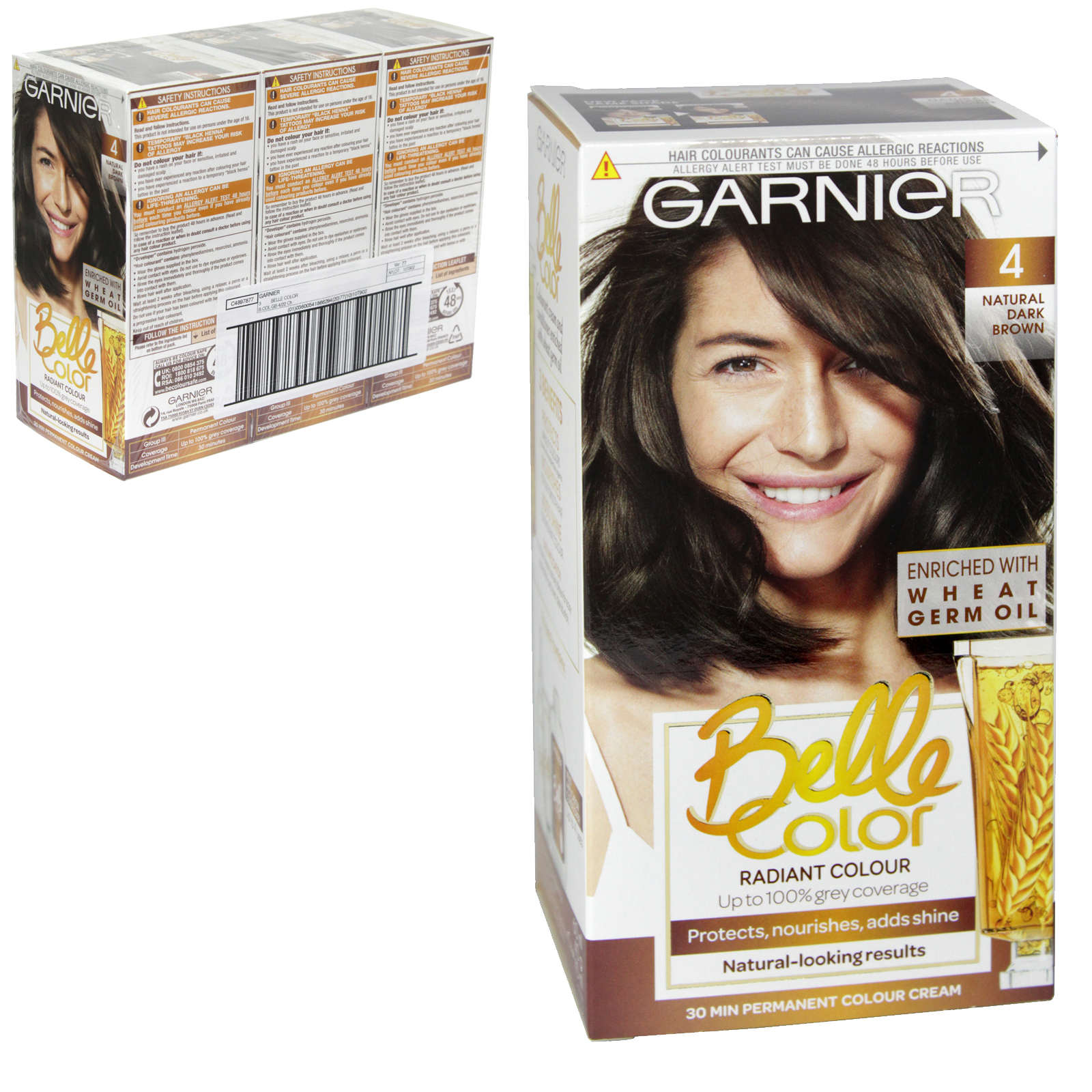 BELLE COLOR 4 NATURAL DARK BROWN X3